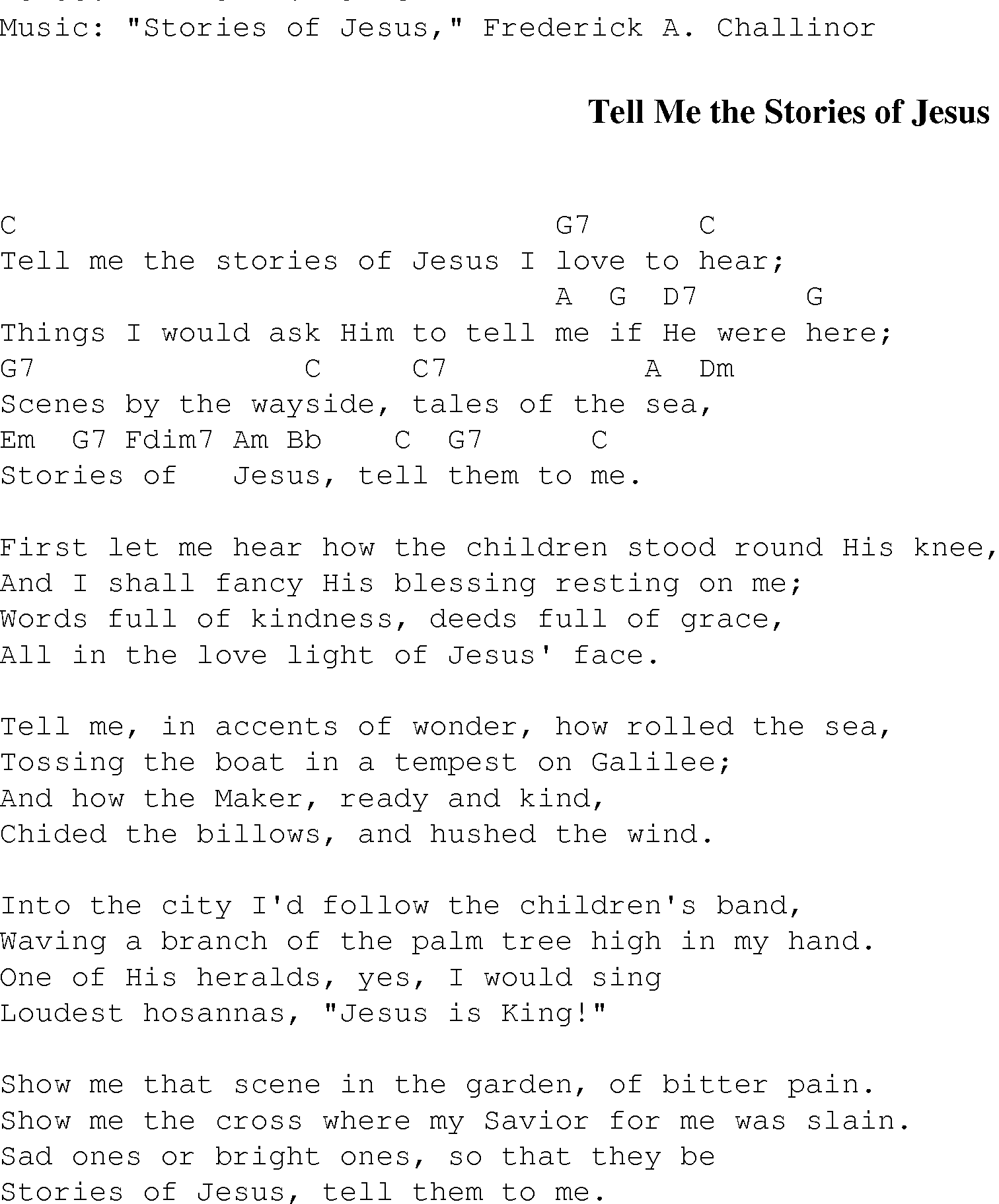 Tell Me The Stories Of Jesus Christian Gospel Song Lyrics And Chords