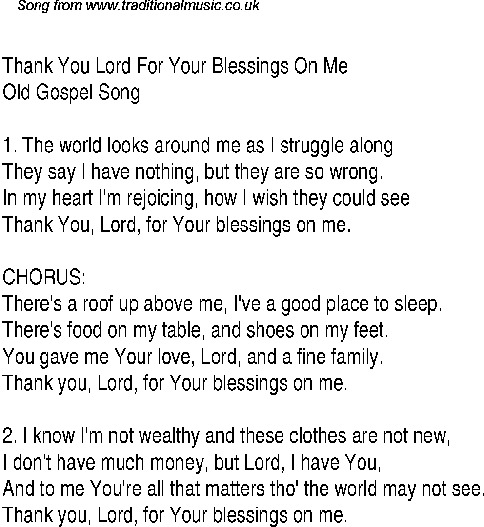 Thank you lord for your blessings on me christian gospel song thank you lord for your blessings on me christian gospel song lyrics and chords stopboris Images
