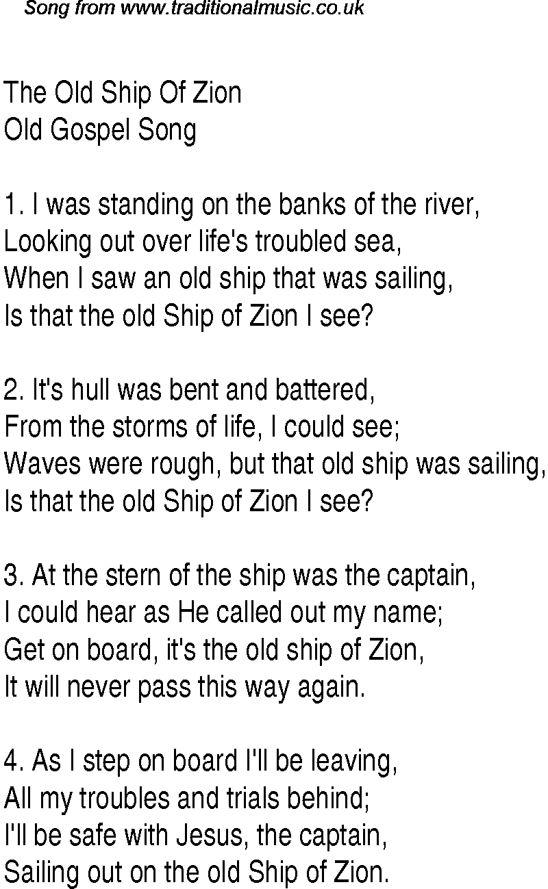 The Old Ship Of Zion Christian Gospel Song Lyrics And Chords