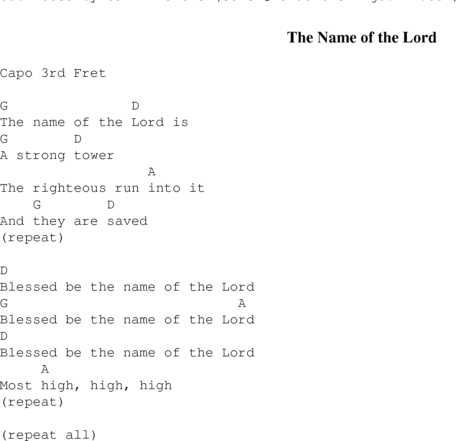 The Name of the Lord   Christian Gospel Song Lyrics and Chords