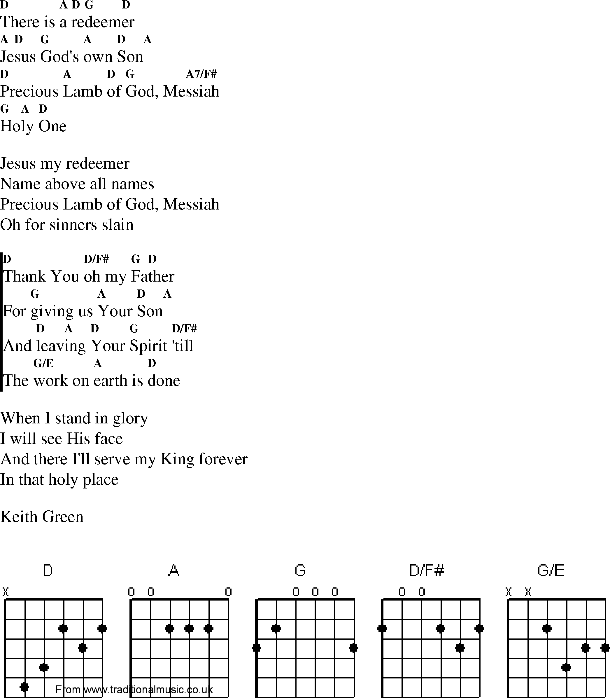 Christian Gospel Worship Song Lyrics With Chords There Is A Redeemer