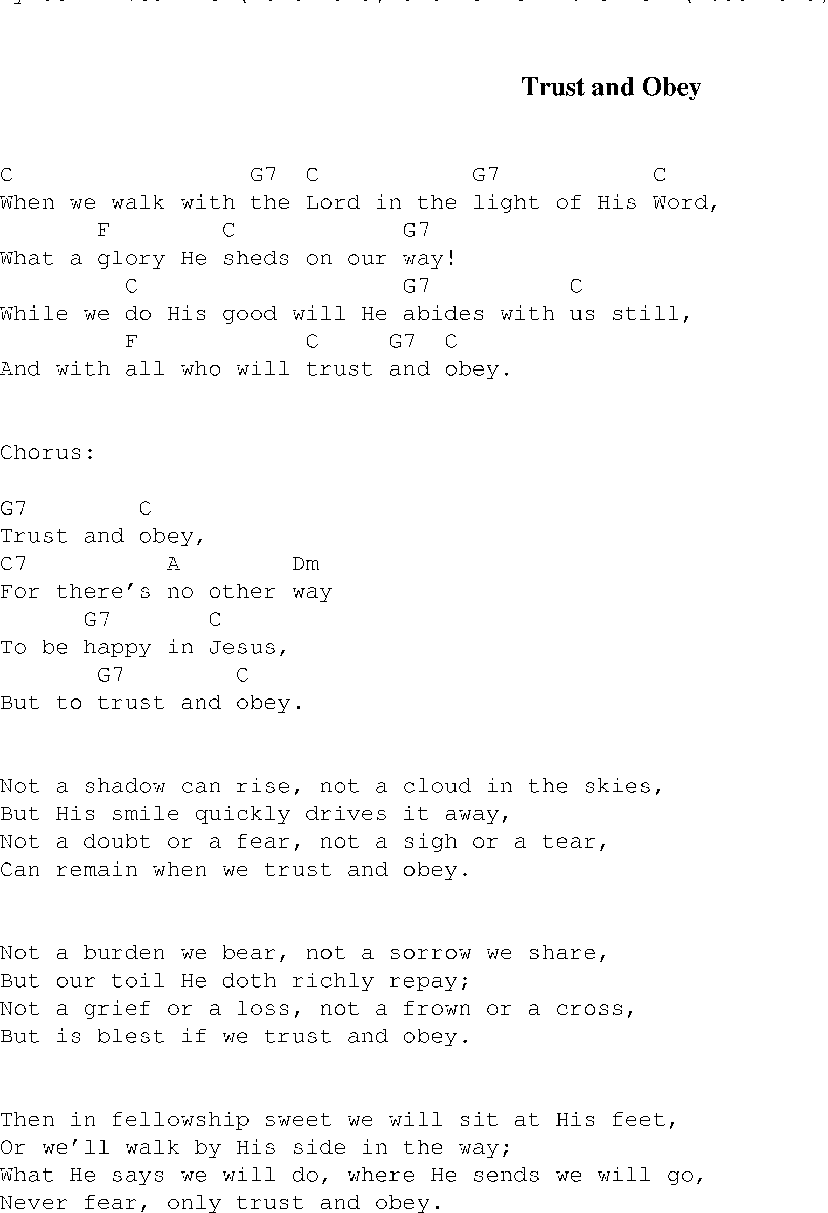 Trust And Obey Christian Gospel Song Lyrics And Chords