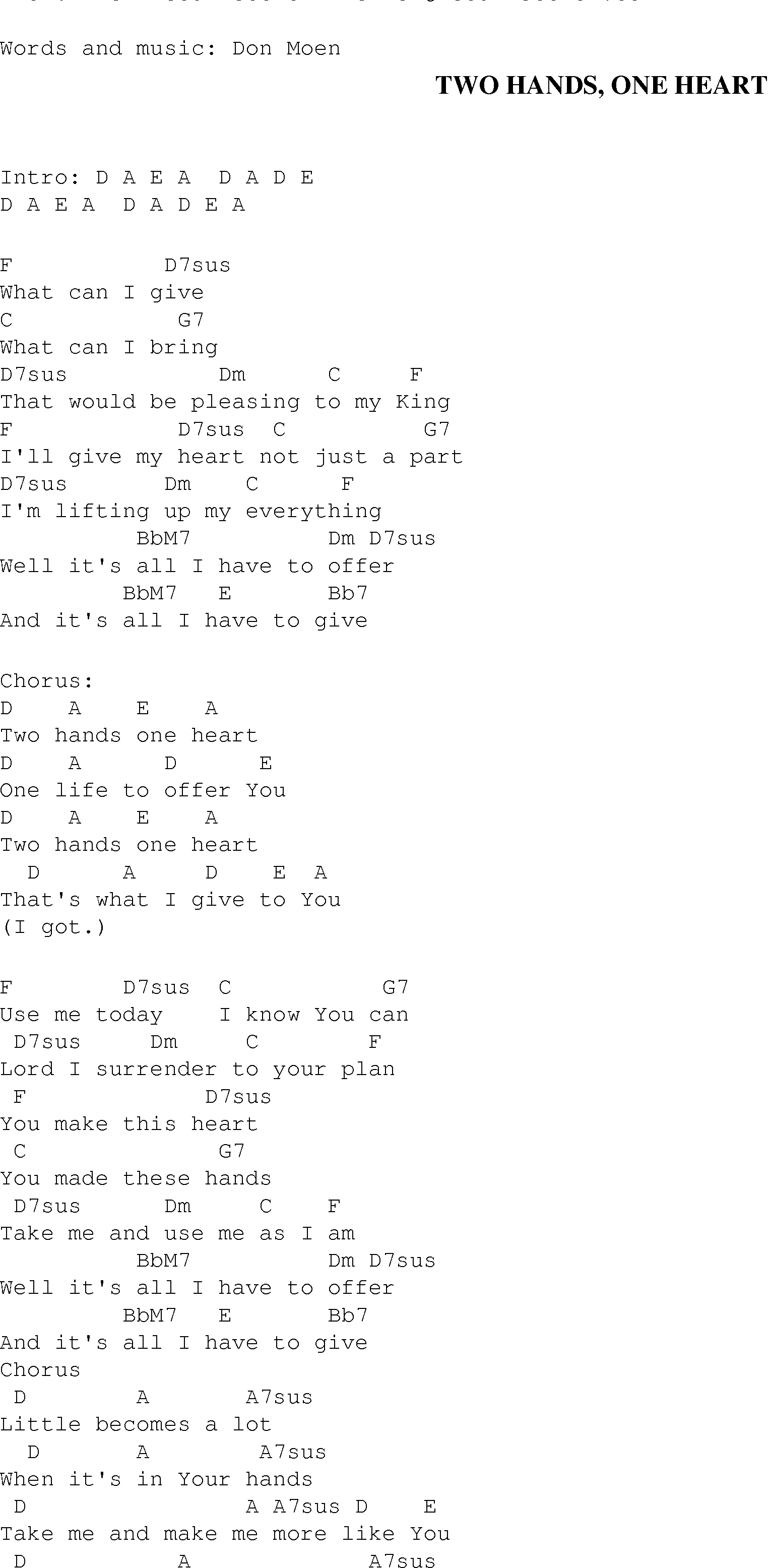 Two Hands One Heart - Christian Gospel Song Lyrics and Chords