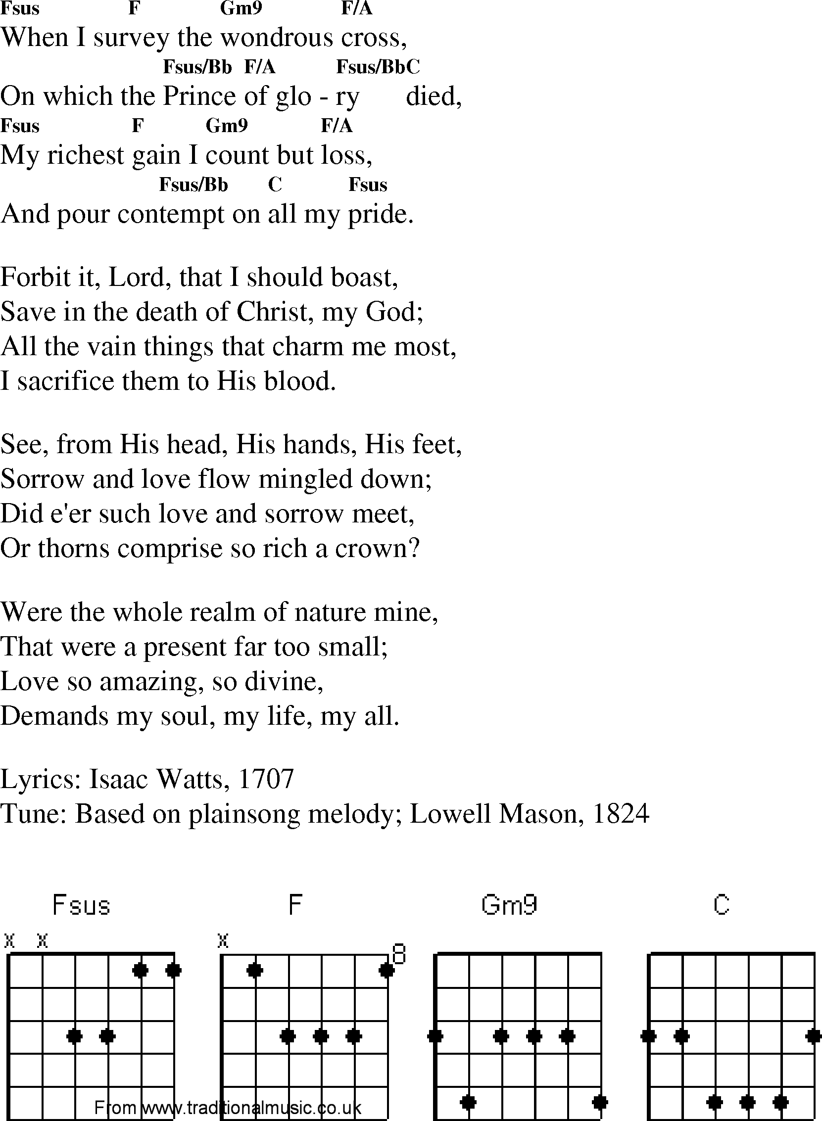 Christian Gospel Worship Song Lyrics With Chords When I Survey The
