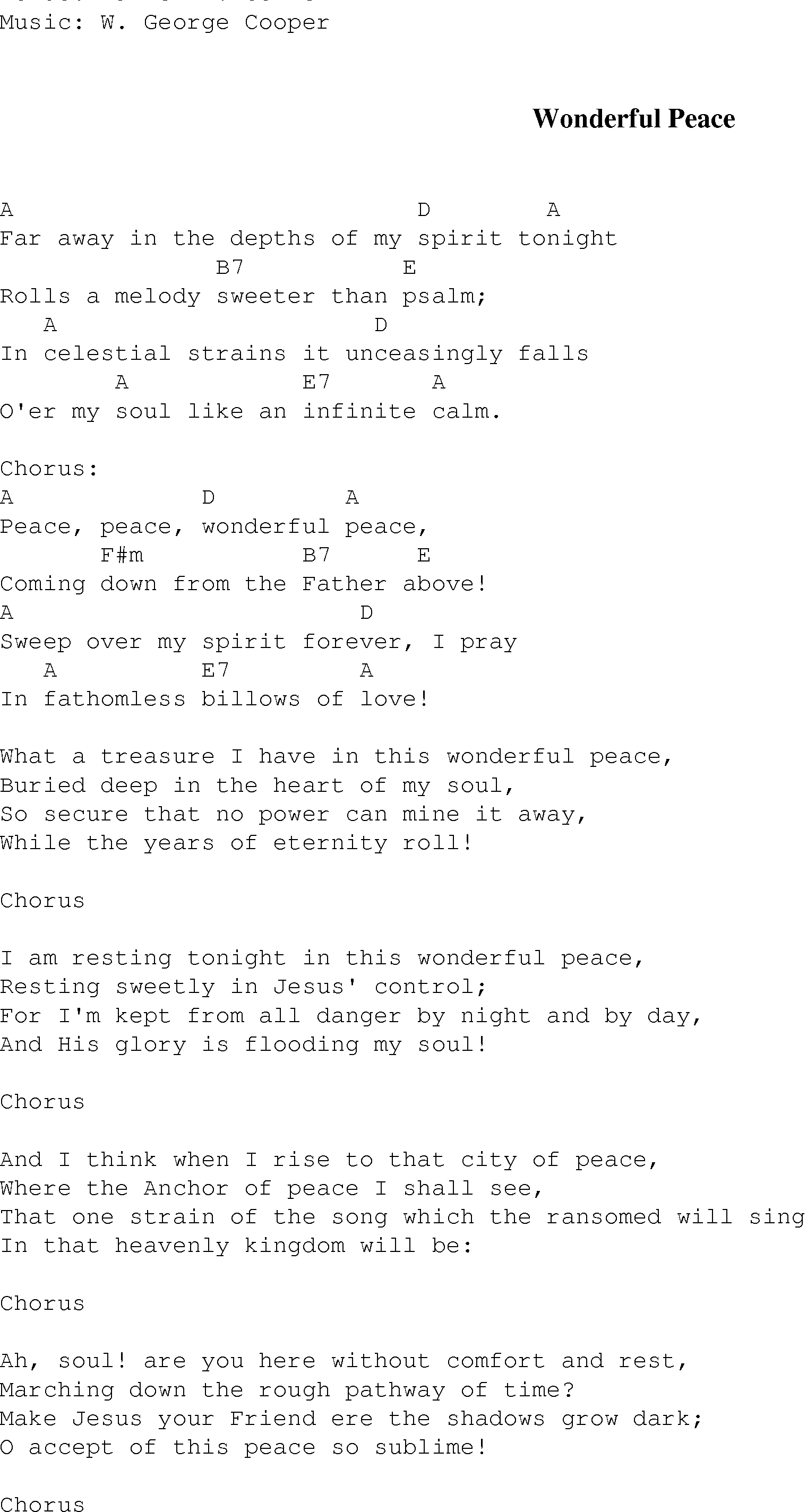 Wonderful Peace Christian Gospel Song Lyrics And Chords