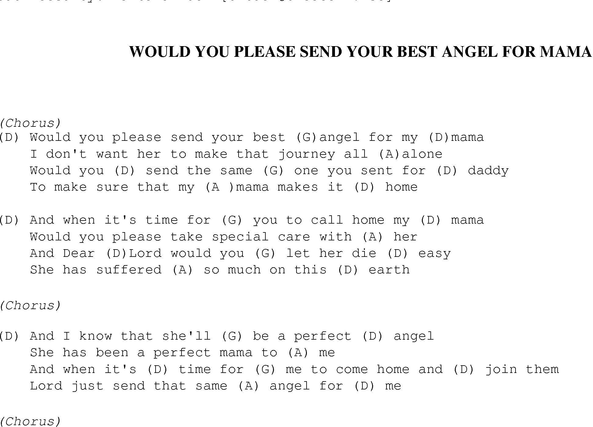 Would you please send your best angel for mama christian gospel gospel song wouldyousendyourbestangel lyrics and chords hexwebz Image collections