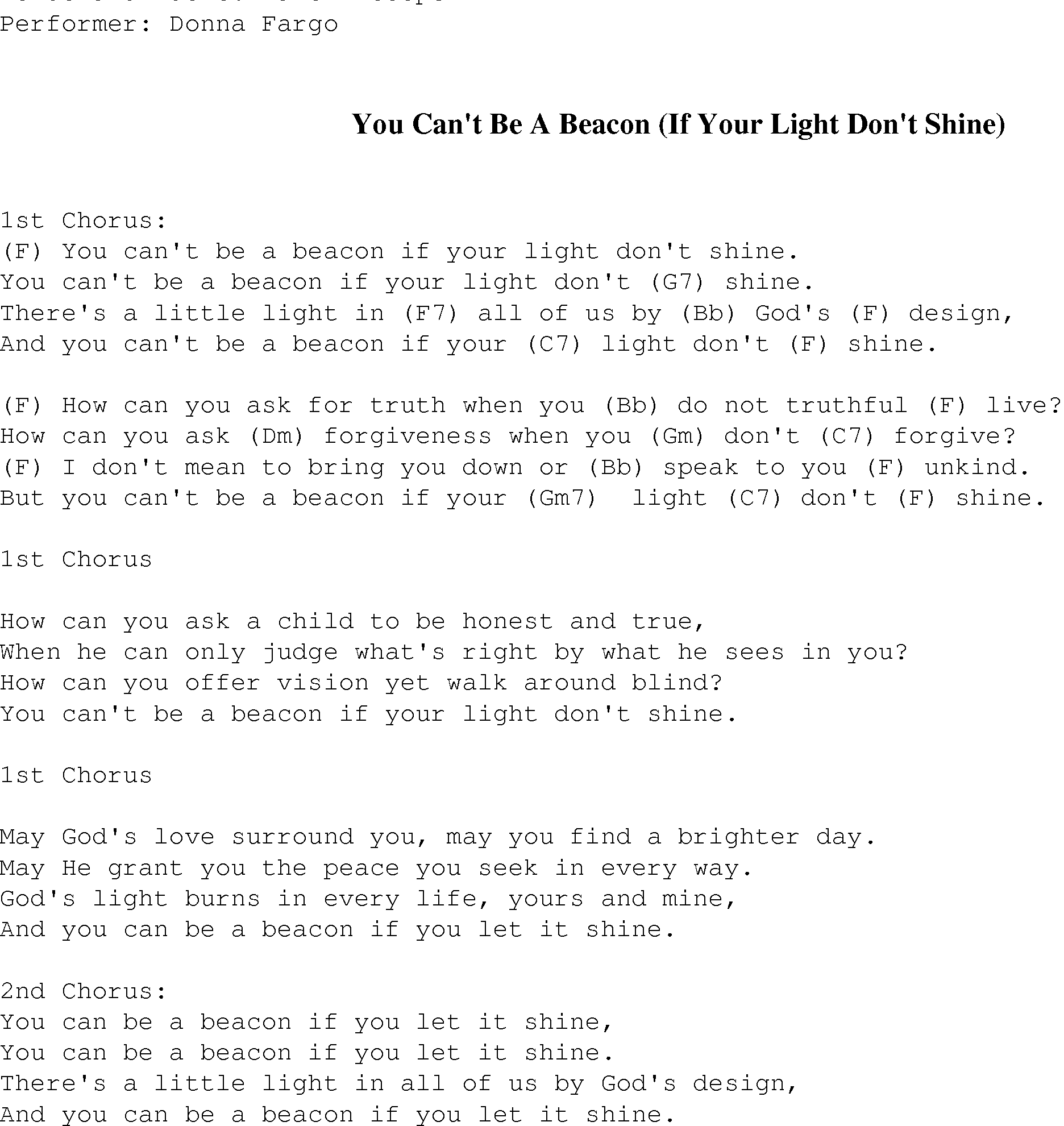 Guitar chords with song lyrics