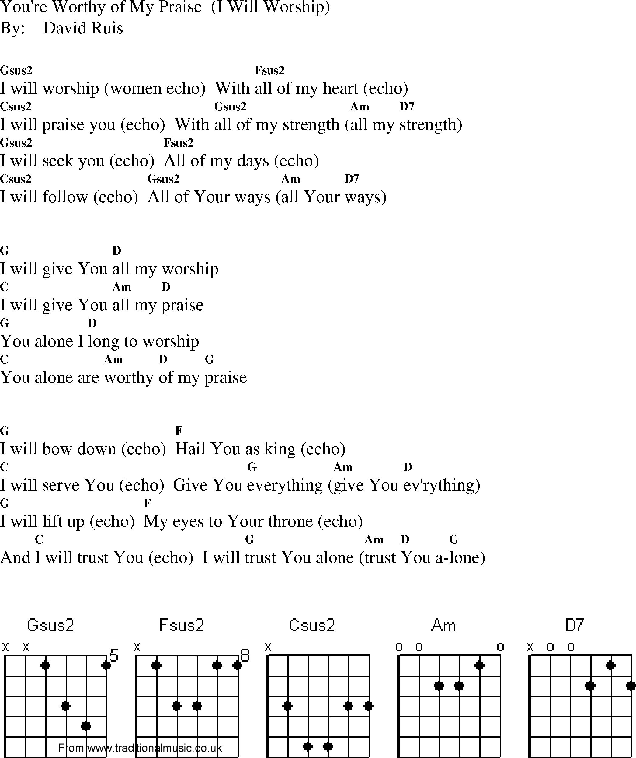 Christian Gospel Worship Song Lyrics With Chords Youre Worthy Of