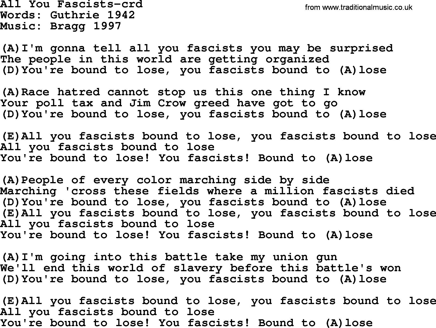 Woody guthrie song all you fascists lyrics and chords woody guthrie song all you fascists lyrics and chords hexwebz Images