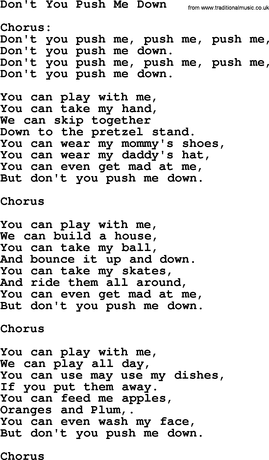 Woody Guthrie Song Dont You Push Me Down Lyrics