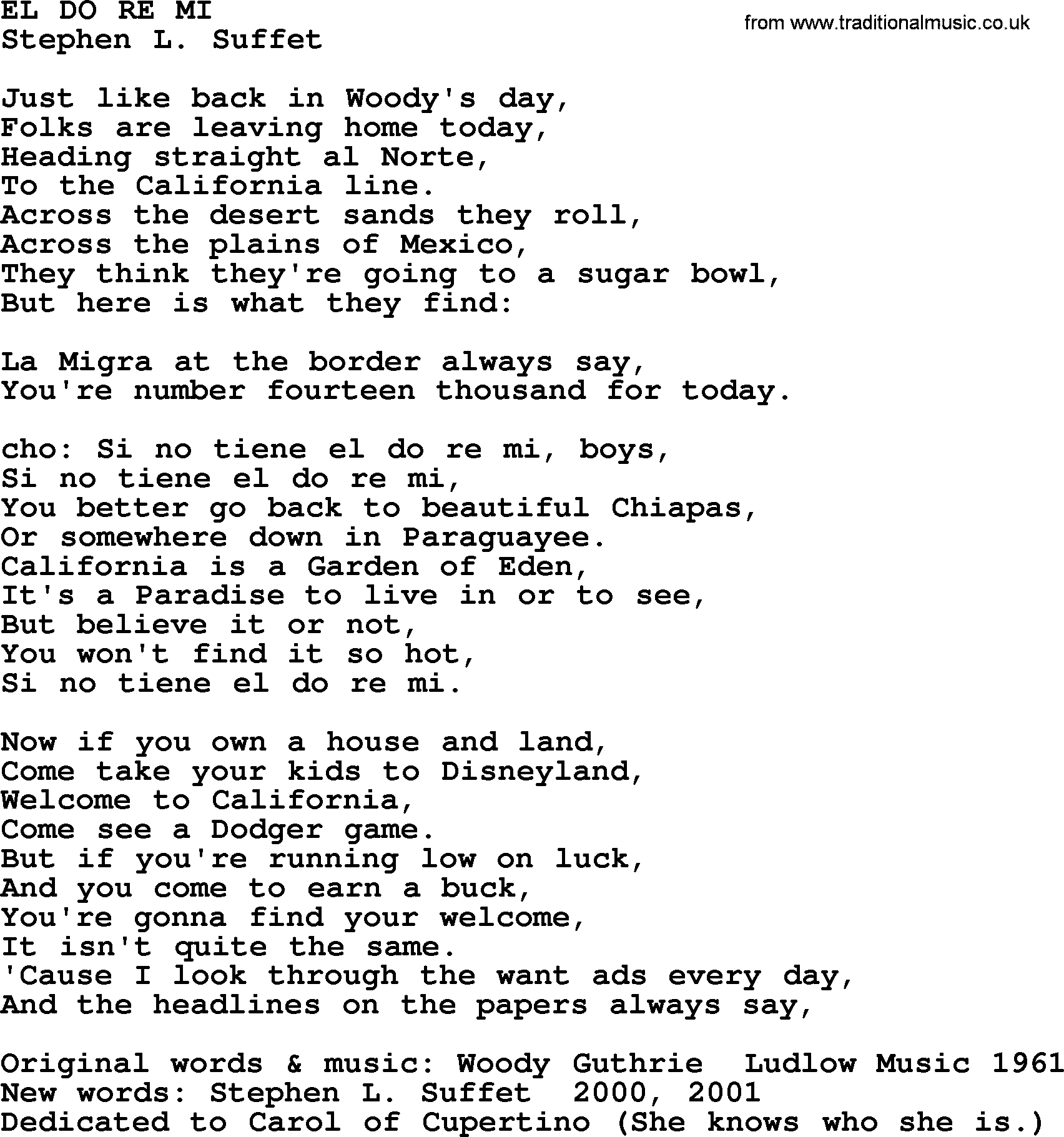 Woody Guthrie Song El Do Re Mi Lyrics