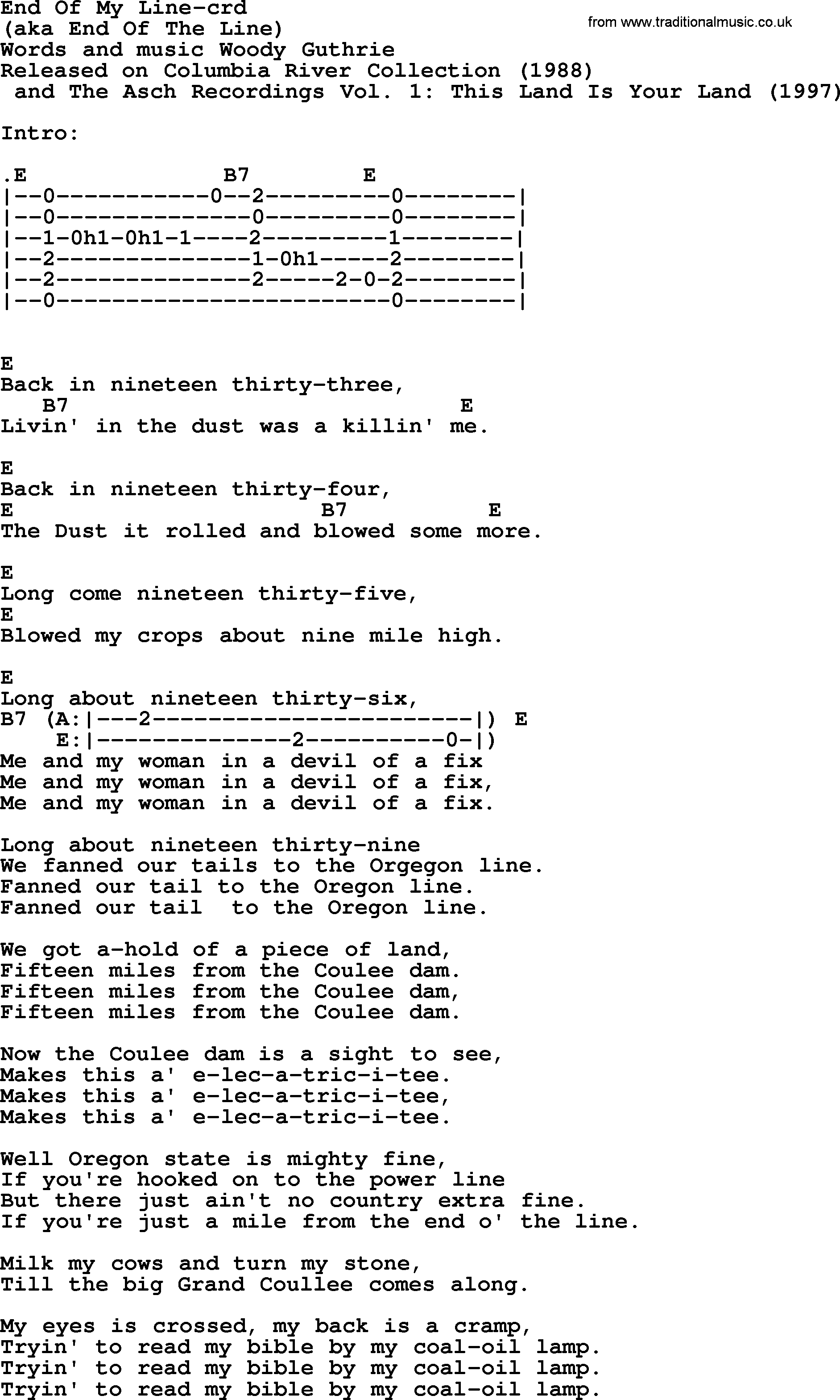 Woody Guthrie Song End Of My Line Lyrics And Chords