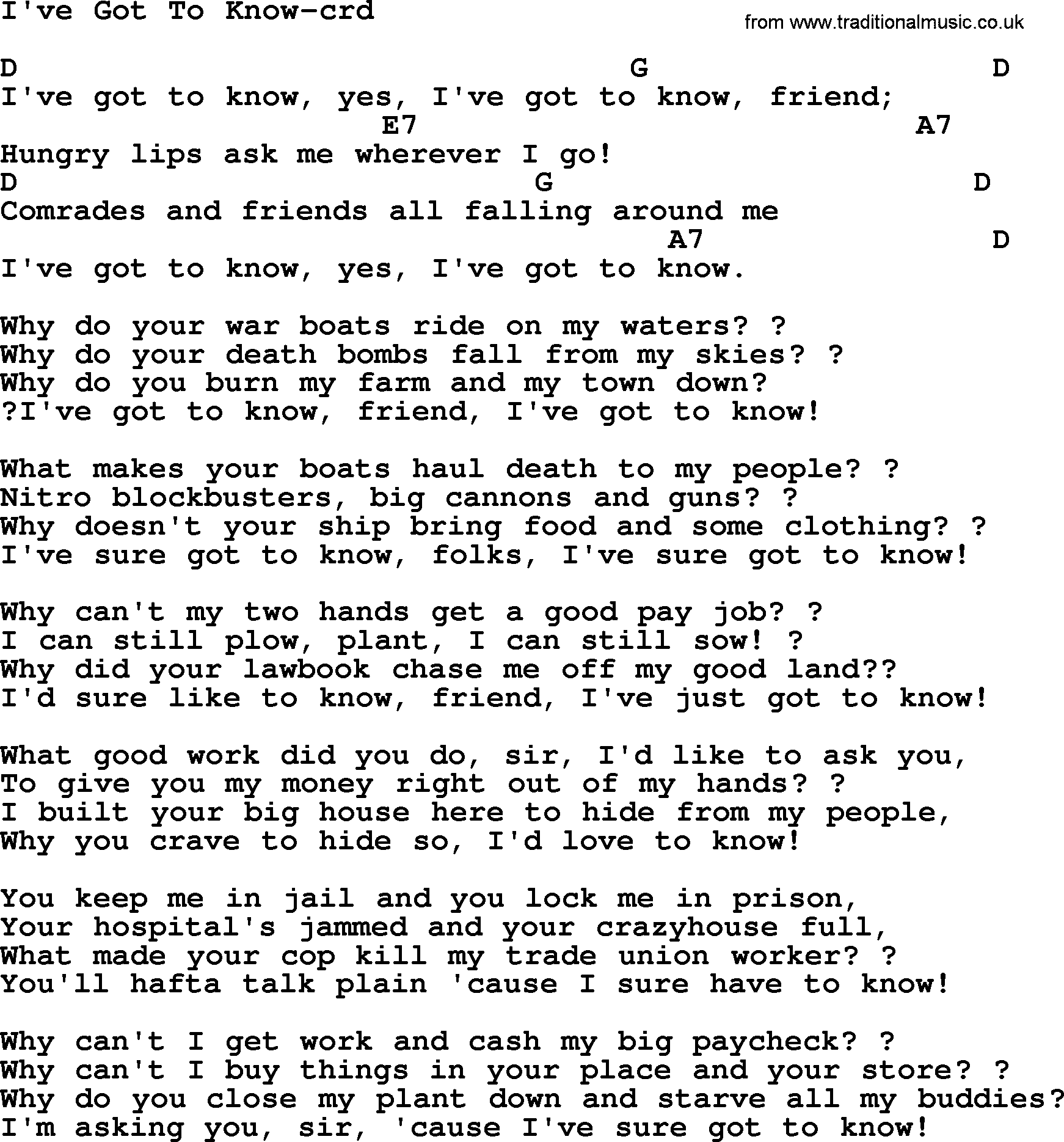 Woody Guthrie song Ive Got To Know lyrics and chords