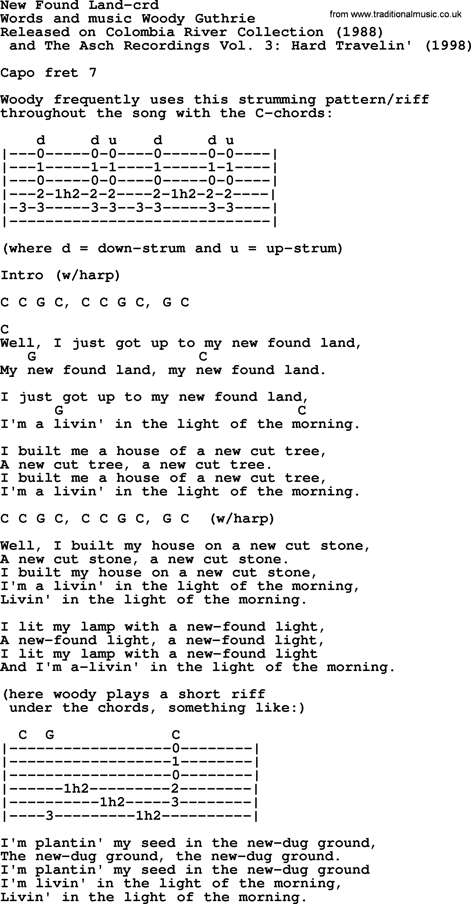 Woody Guthrie song New Found Land lyrics and chords
