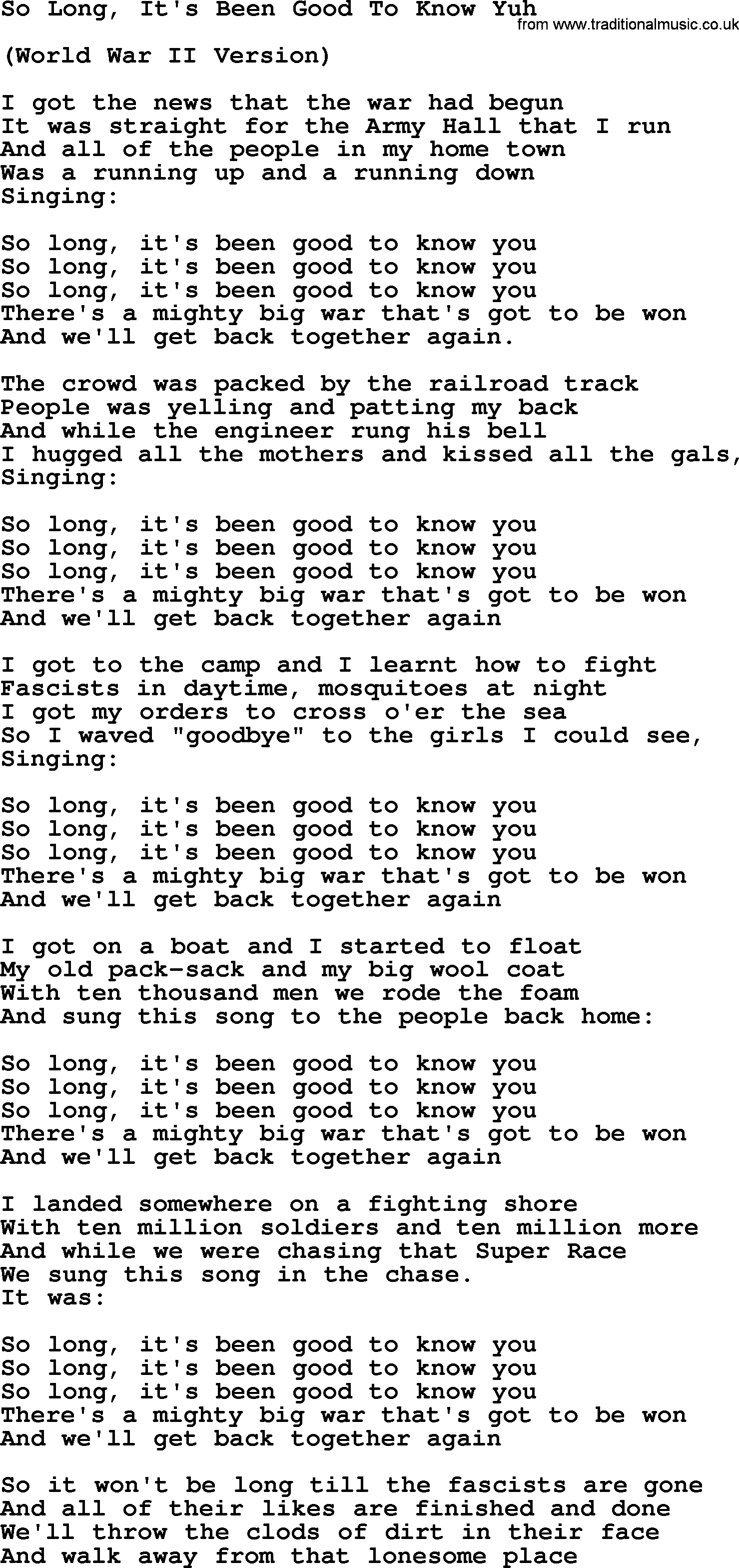 Woody Guthrie Song So Long Its Been Good To Know Yuh Lyrics
