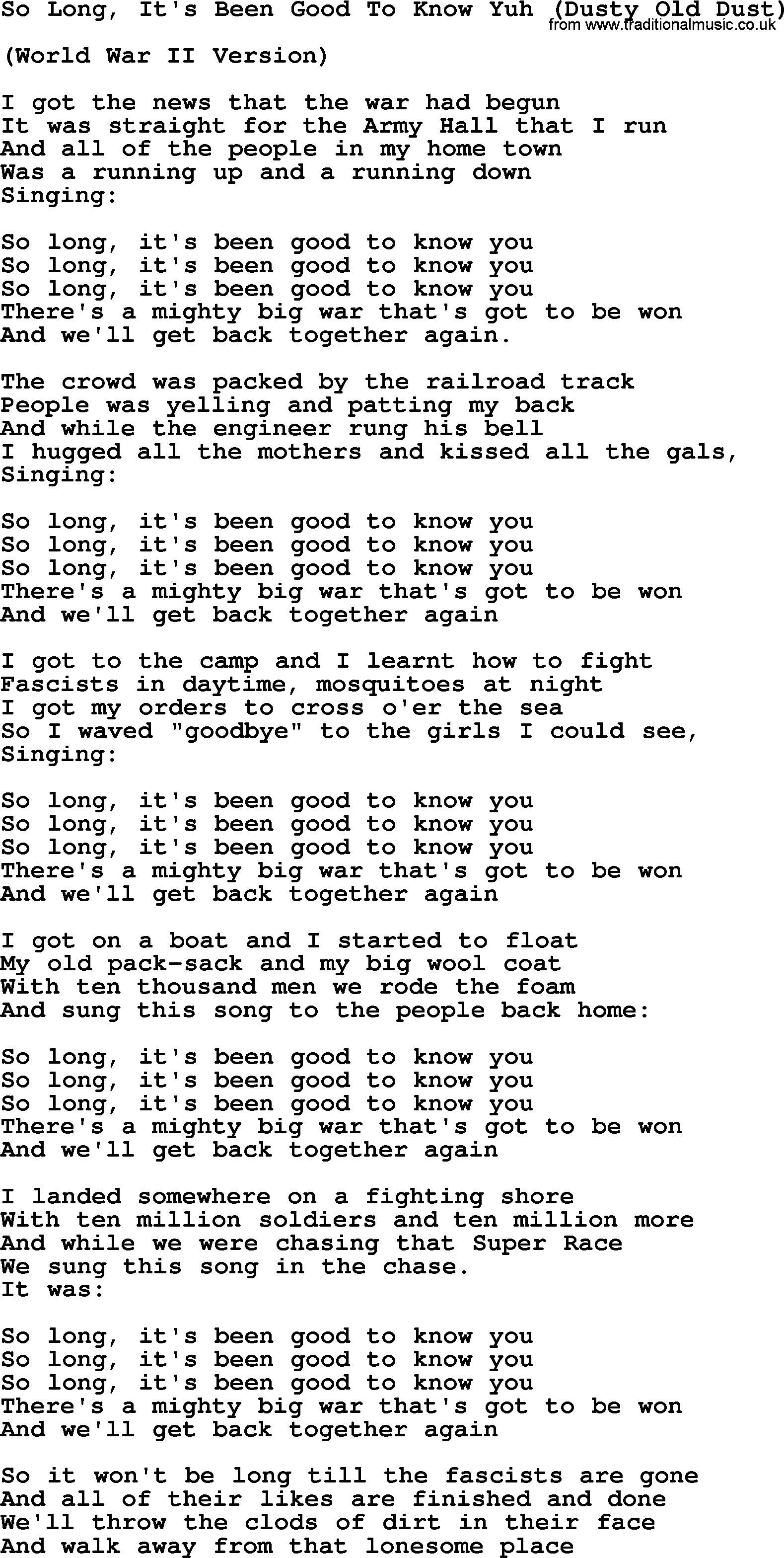 Woody Guthrie song So Long Its Been Good To Know Yuh Dusty Old