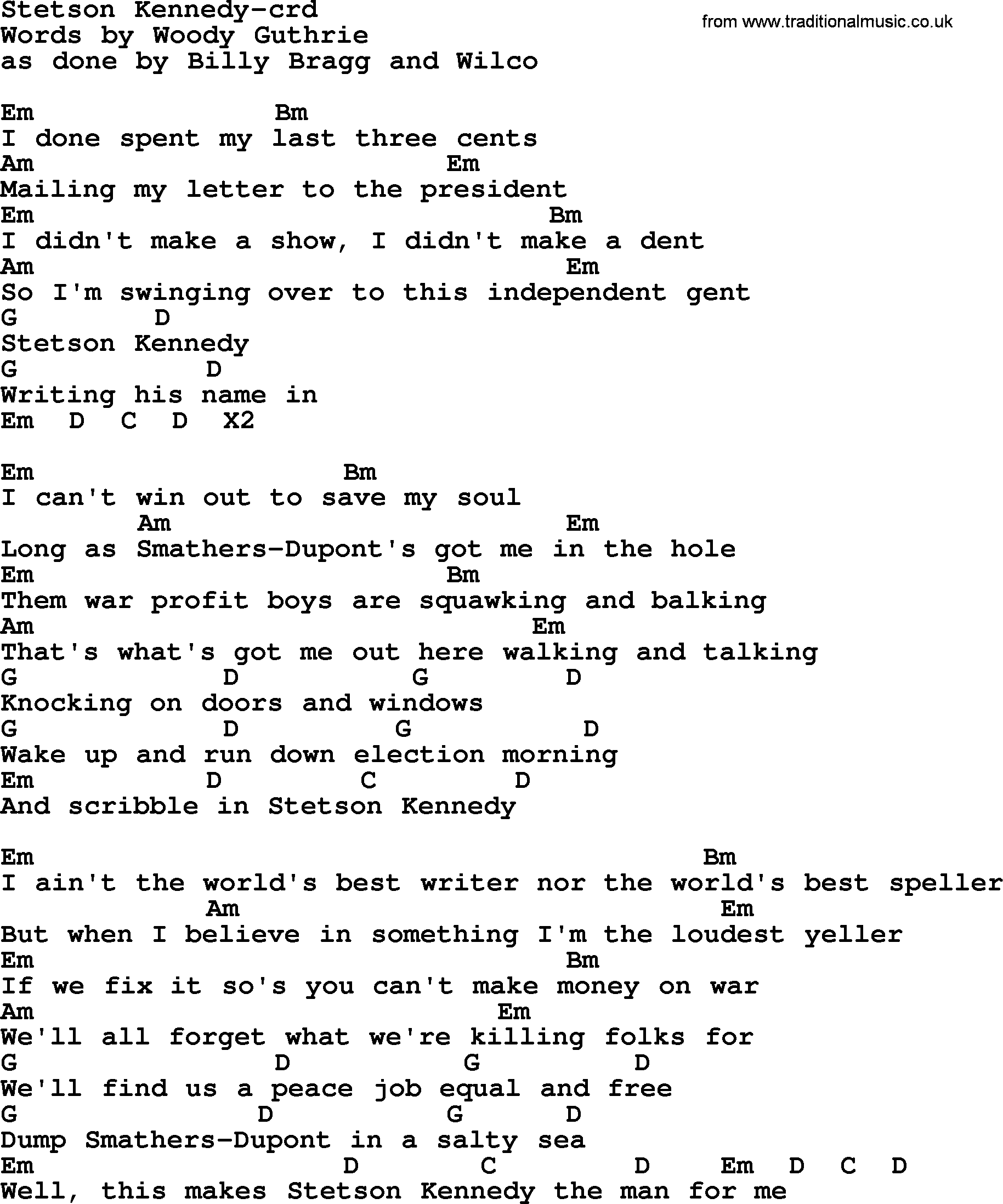 Woody Guthrie Song Stetson Kennedy Lyrics And Chords