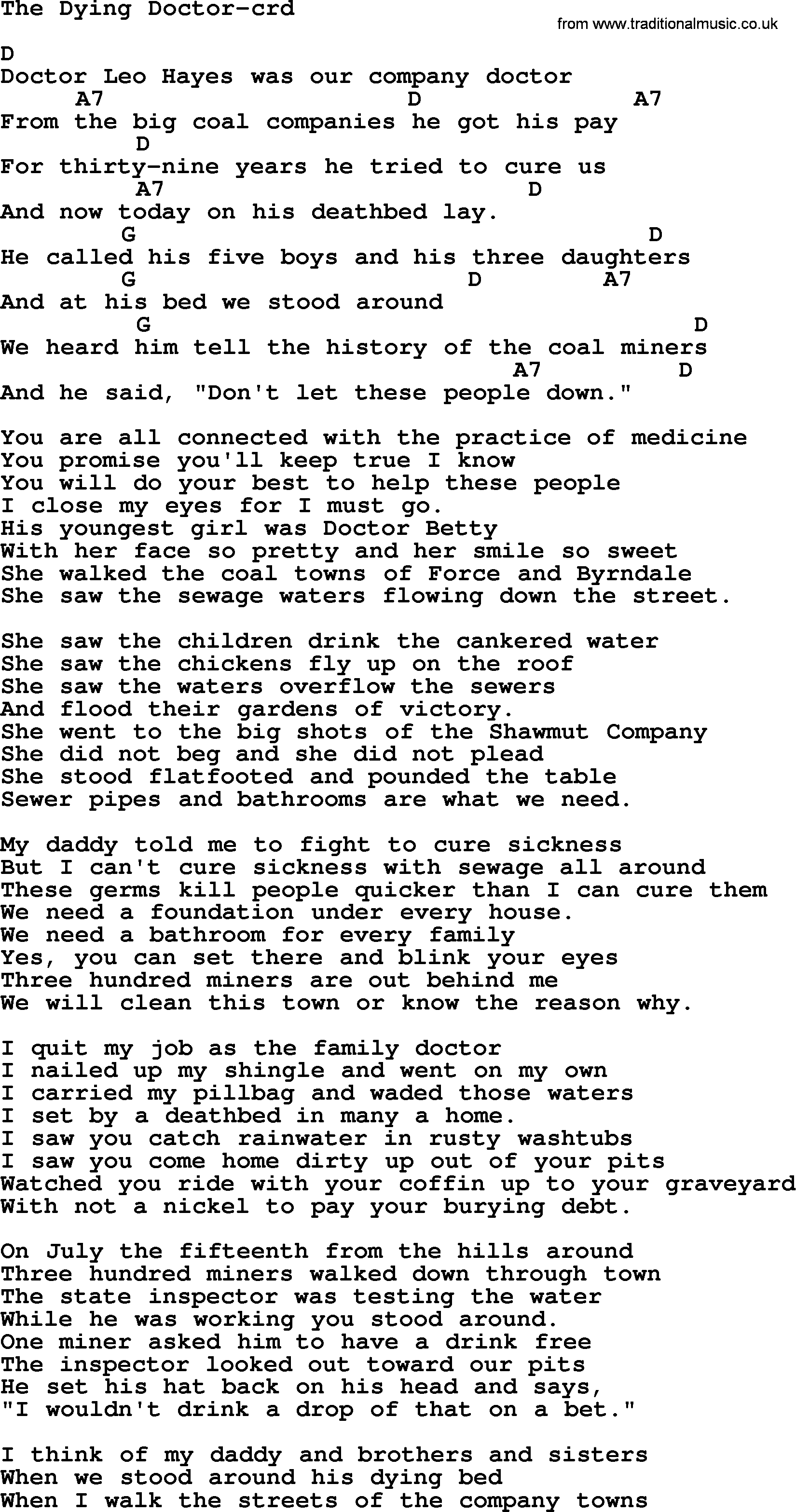Woody Guthrie Song The Dying Doctor Lyrics And Chords