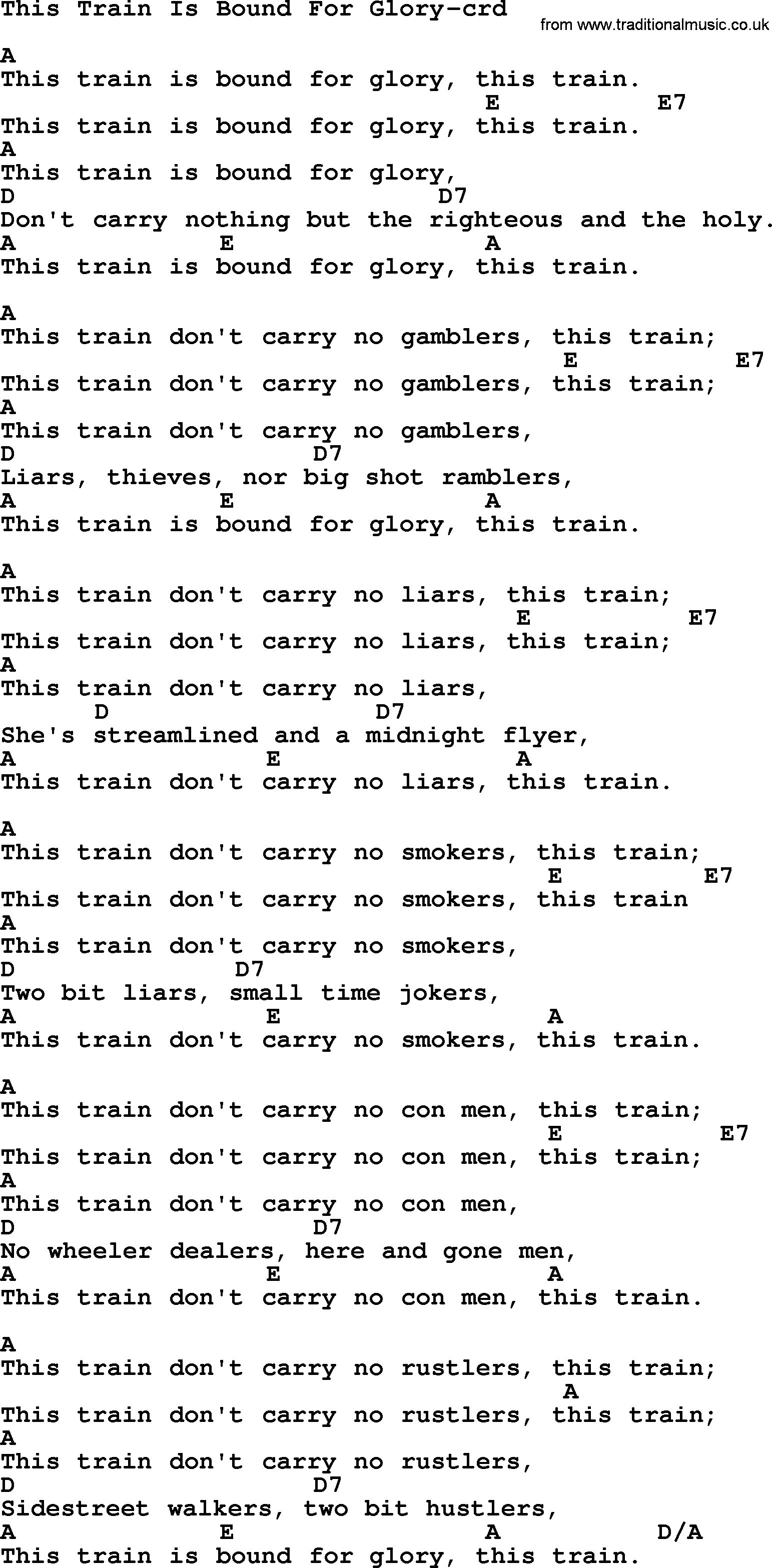 Woody Guthrie Song This Train Is Bound For Glory Lyrics And Chords