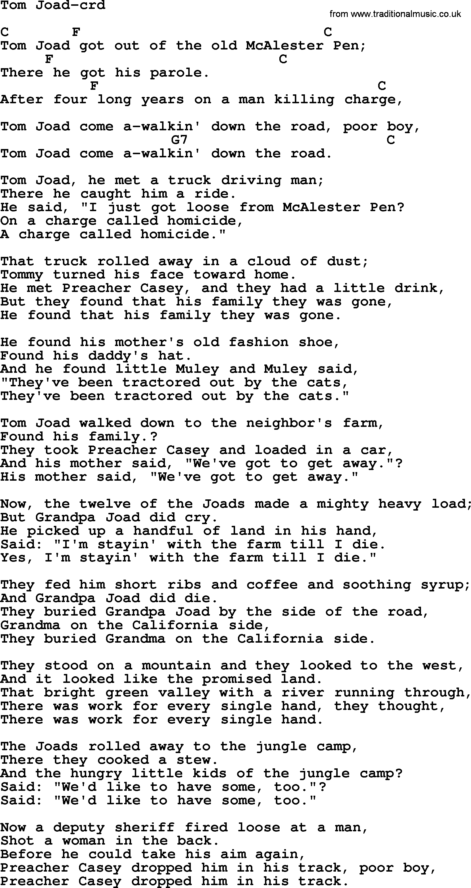 Woody Guthrie Song Tom Joad Lyrics And Chords