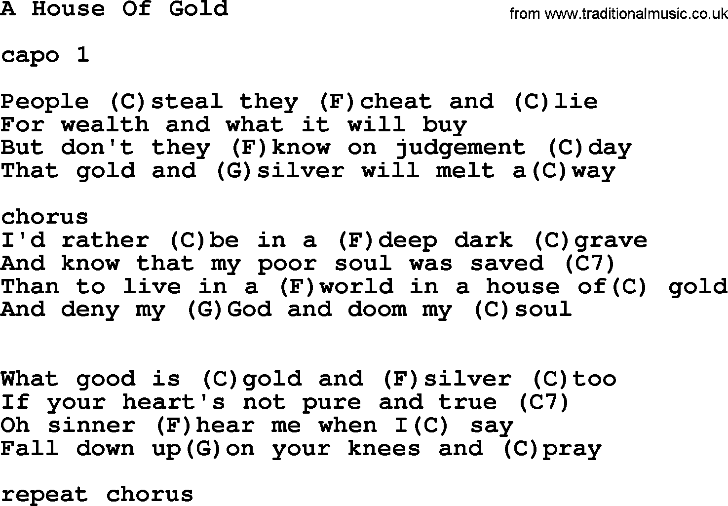 hank williams song a house of gold lyrics and chords. Black Bedroom Furniture Sets. Home Design Ideas