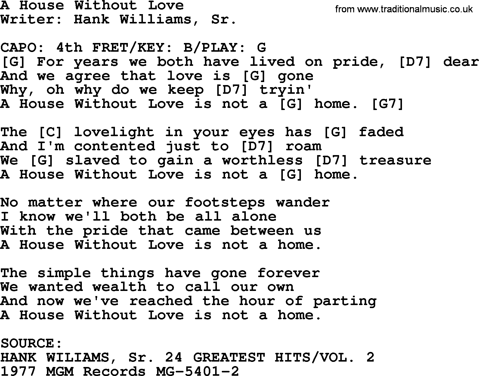 Hank Williams song A House Without Love lyrics and chords