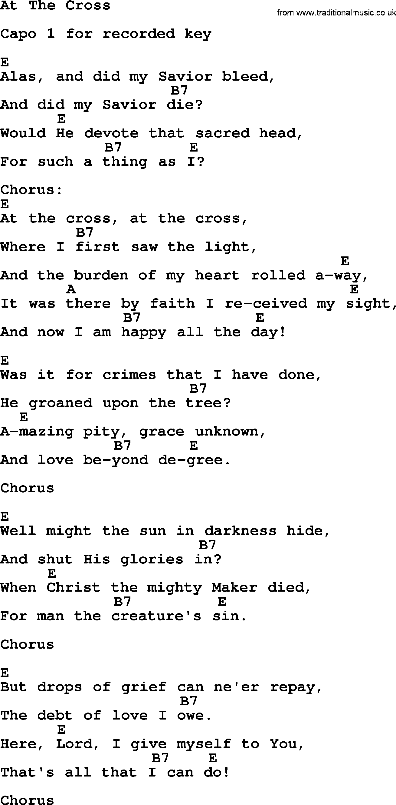 81 At The Cross Where I First Saw The Light Lyrics