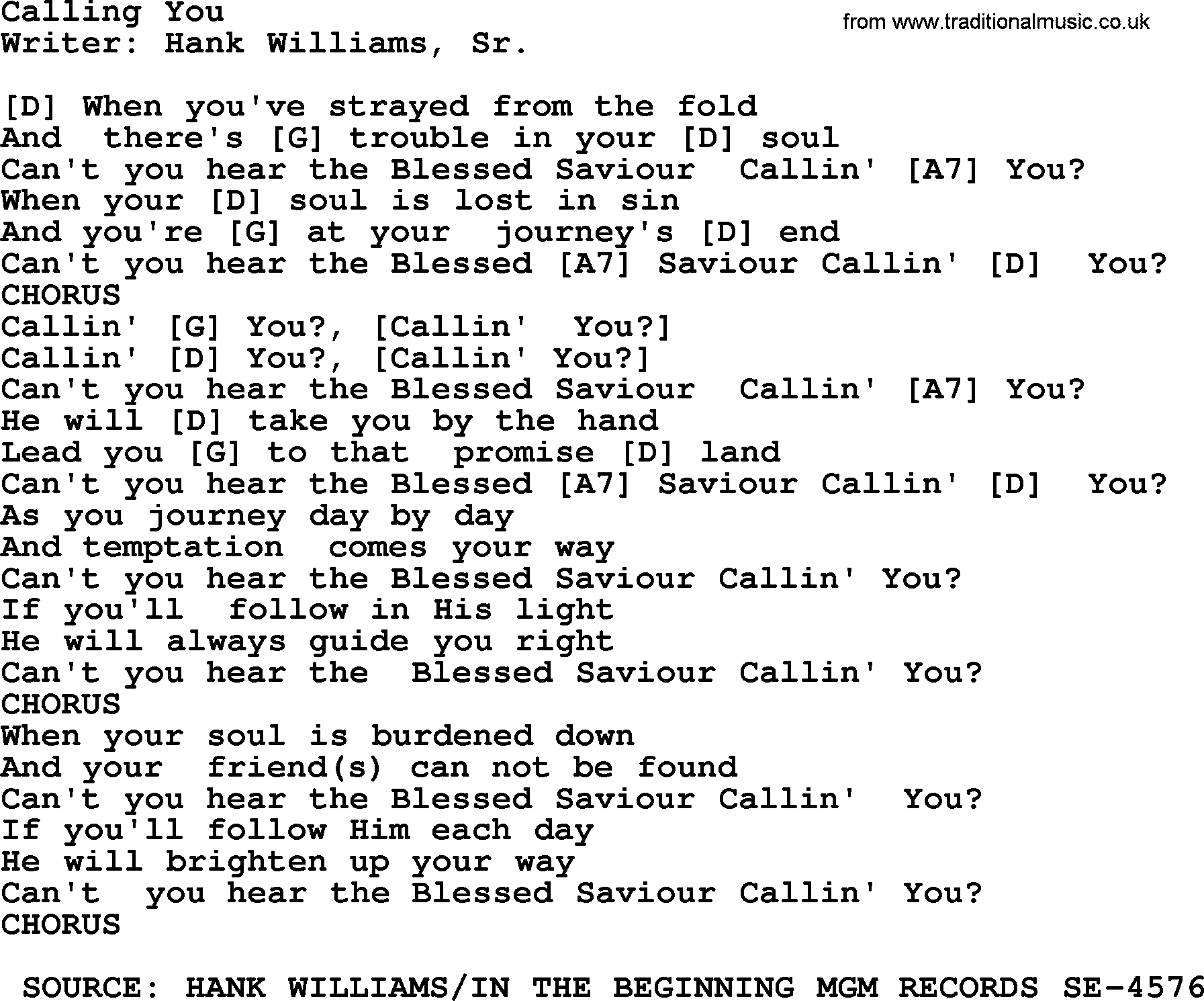 Hank Williams Song Calling You Lyrics And Chords