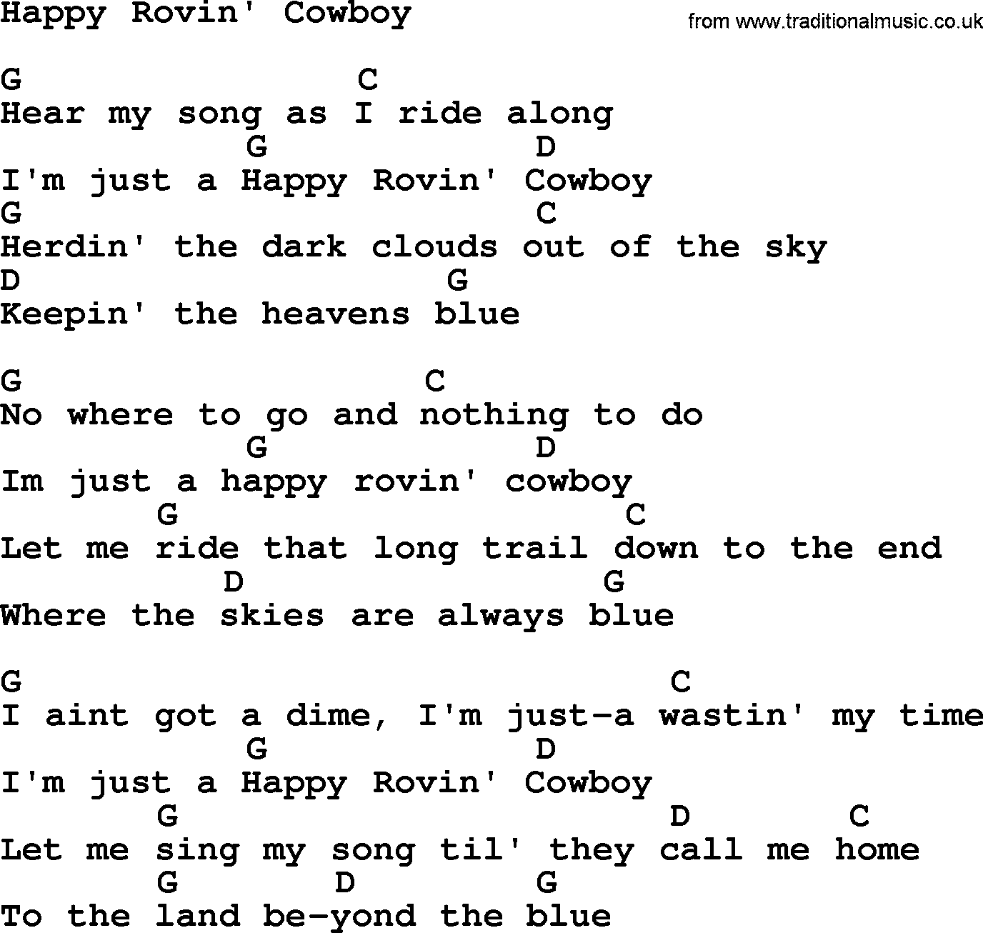 hank williams song happy rovin 39 cowboy lyrics and chords. Black Bedroom Furniture Sets. Home Design Ideas