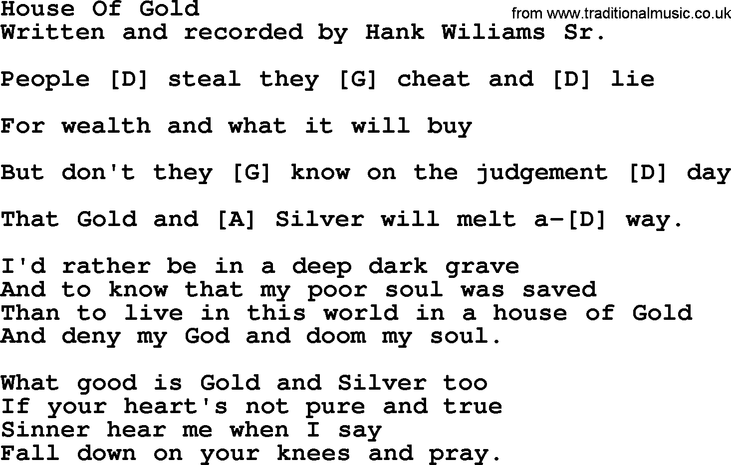 A House of Gold - Hank Williams - YouTube