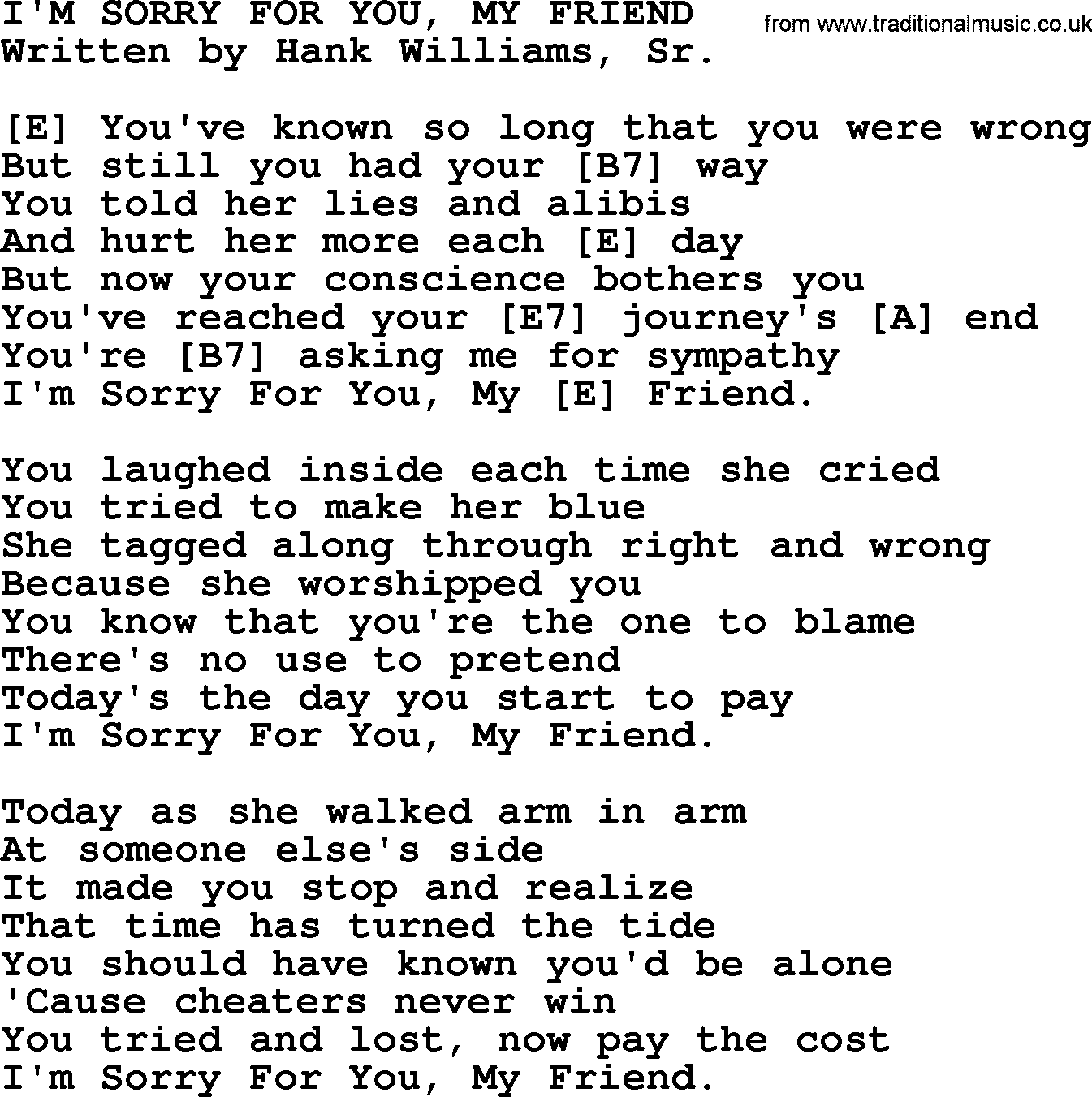 Hank Williams song: I'm Sorry For You, My Friend, lyrics and chords