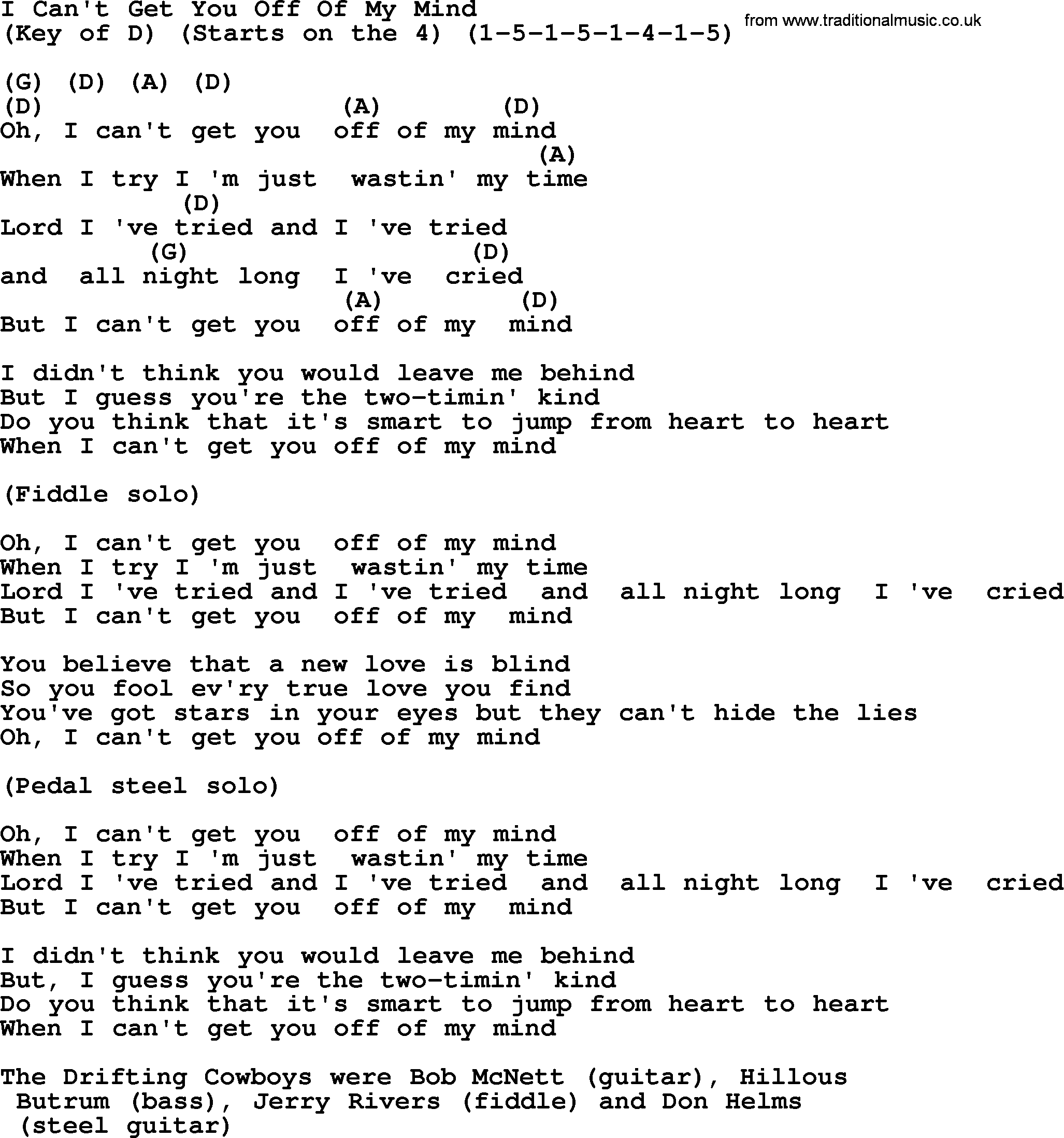 Hank Williams Song I Cant Get You Off Of My Mind Lyrics And Chords