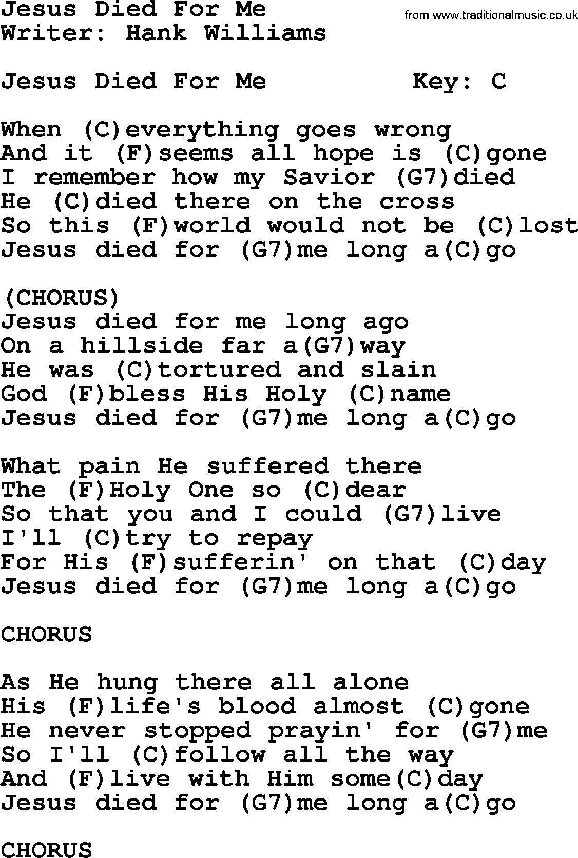 Hank Williams Song Jesus Died For Me Lyrics And Chords