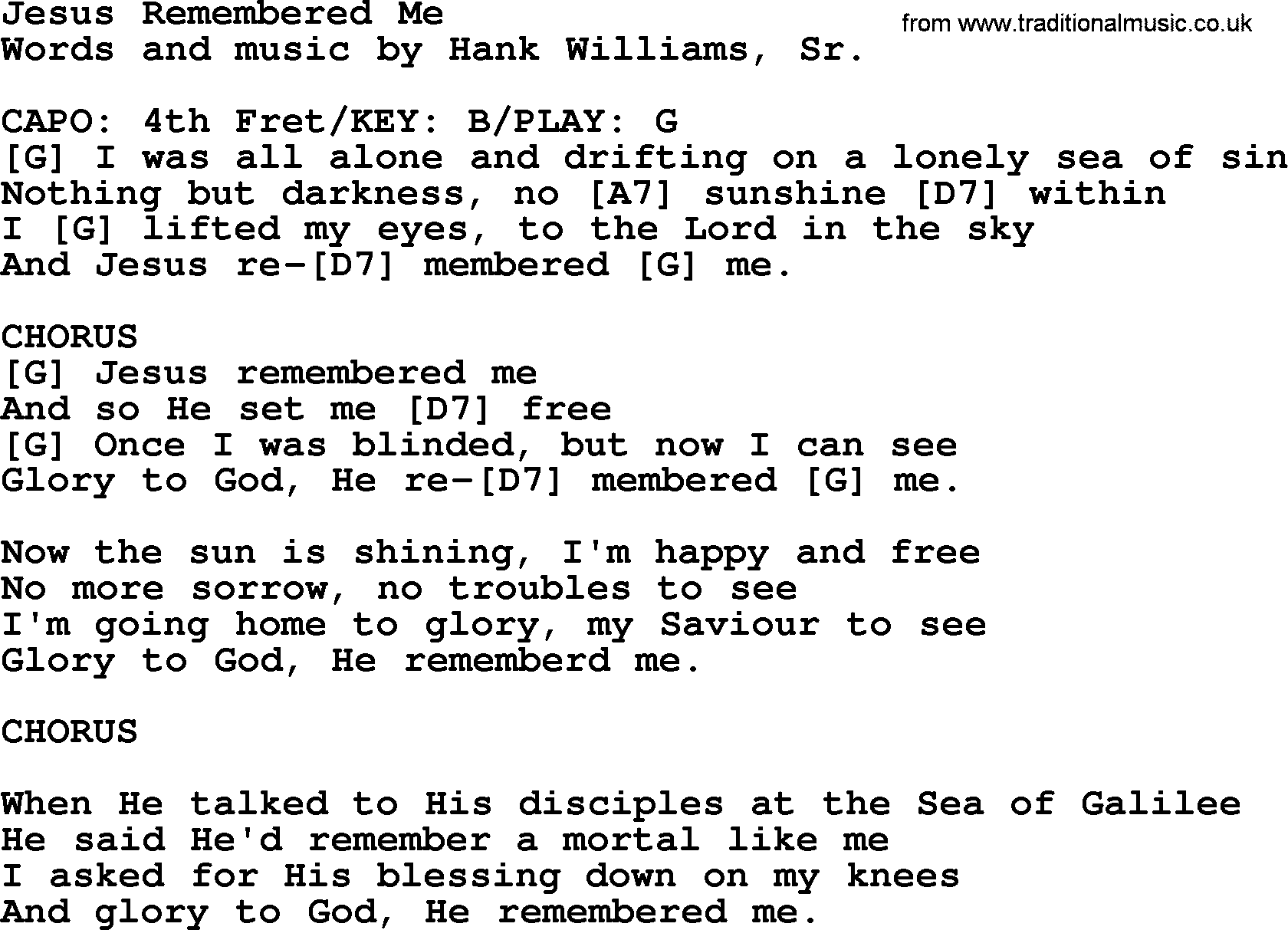 Hank Williams Song Jesus Remembered Me Lyrics And Chords