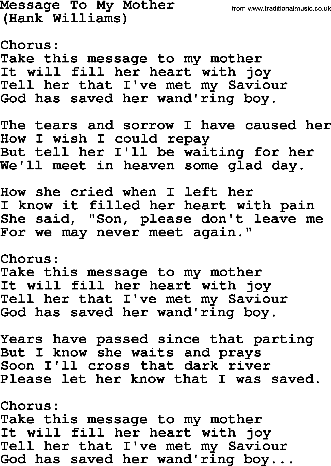 Hank Williams song: Message To My Mother, lyrics