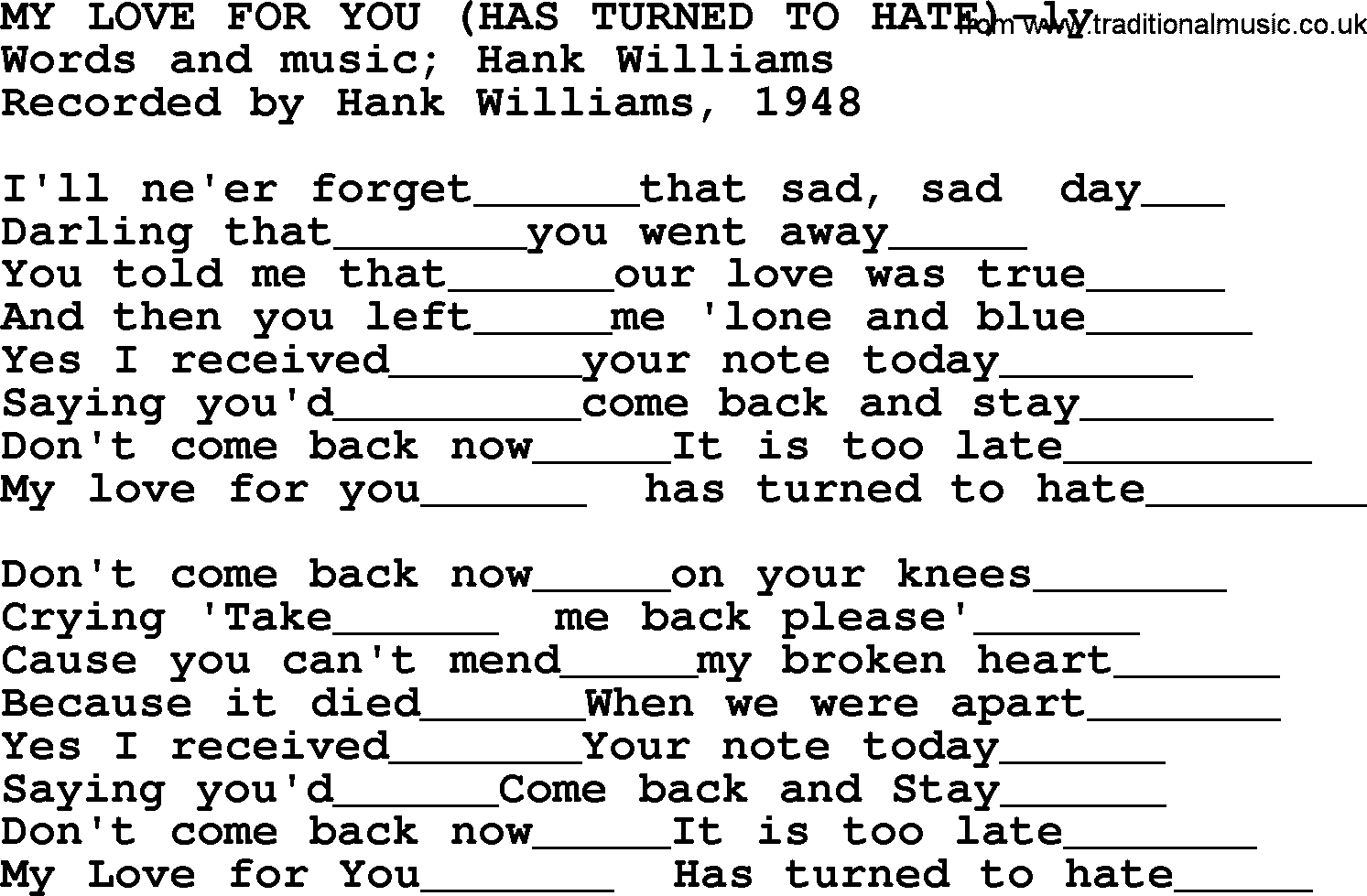Hank Williams Song My Love For You Has Turned To Hate Lyrics