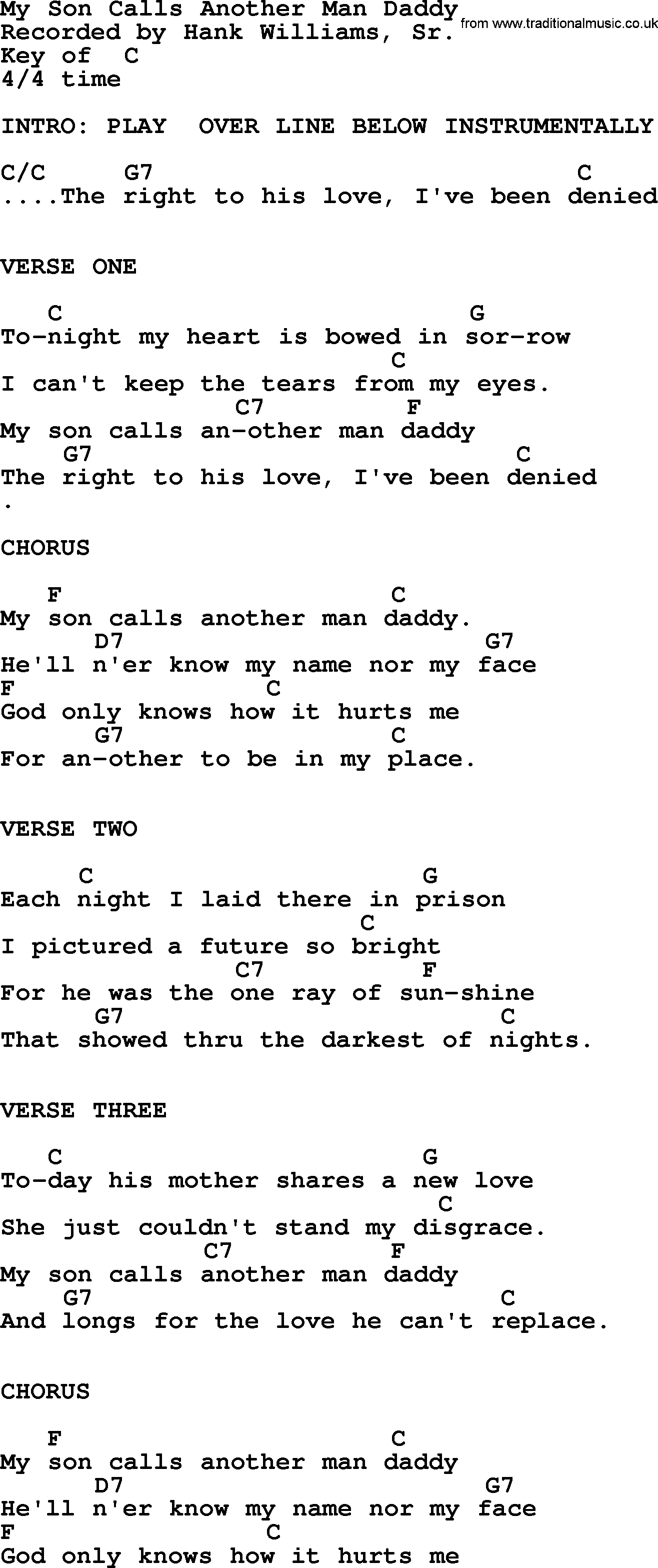 Hank Williams Song My Son Calls Another Man Daddy Lyrics And Chords