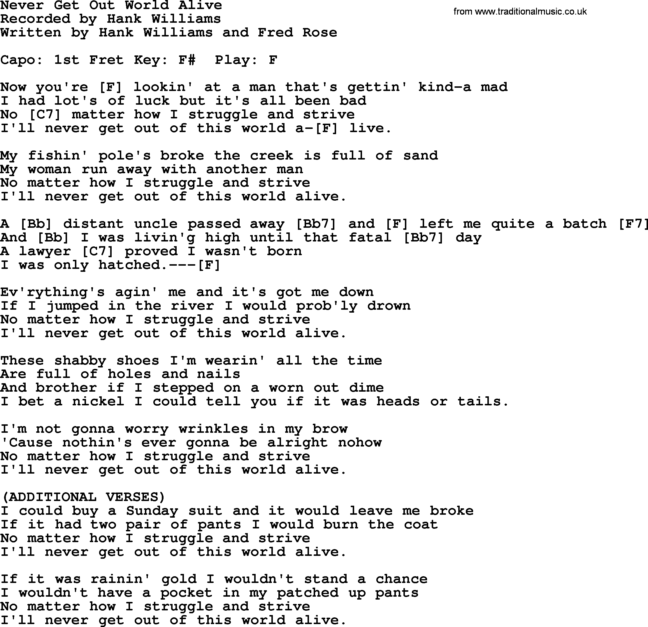 Hank Williams song: Never Get Out World Alive, lyrics and chords