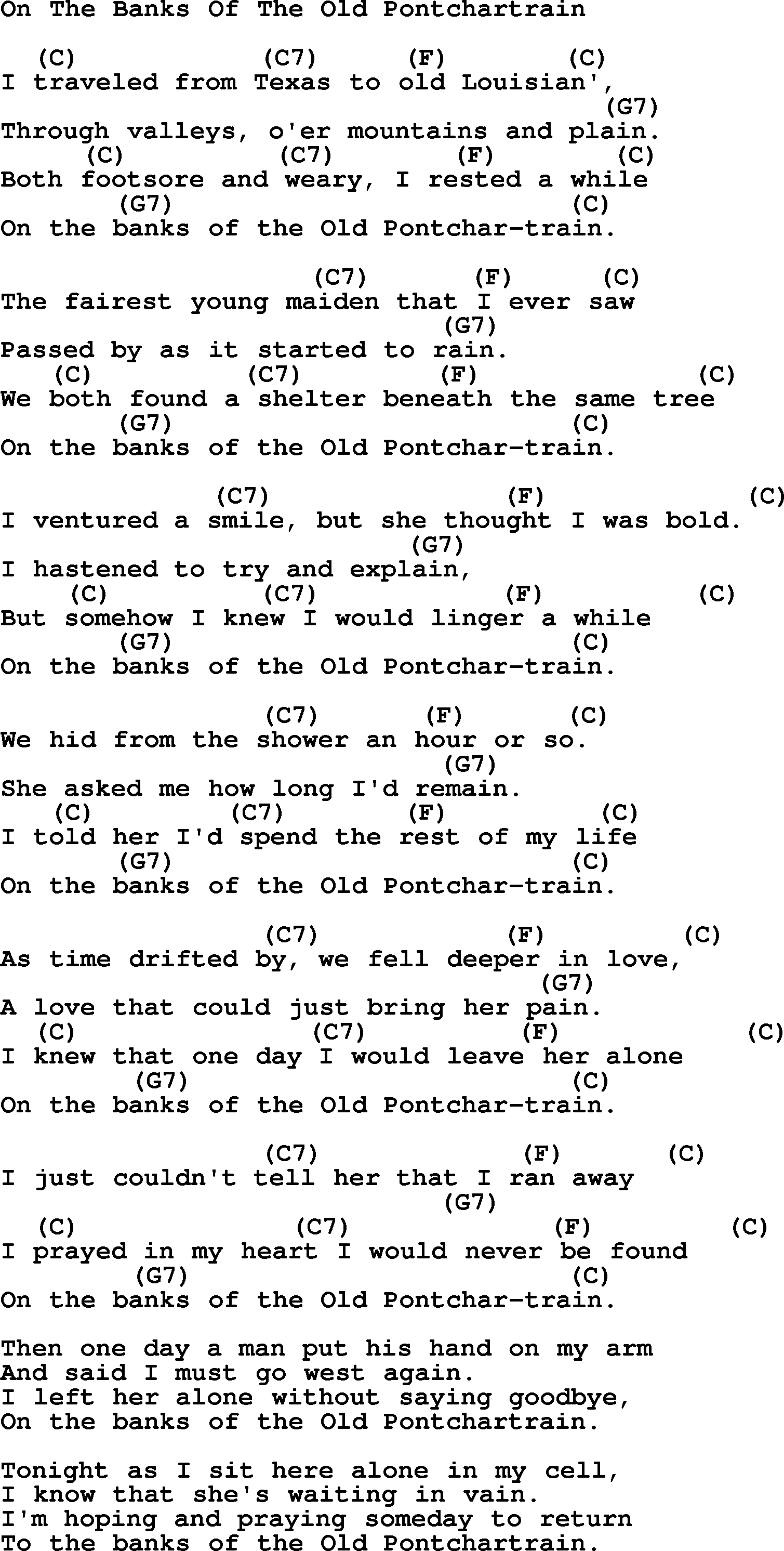 Hank Williams Song On The Banks Of The Old Pontchartrain Lyrics