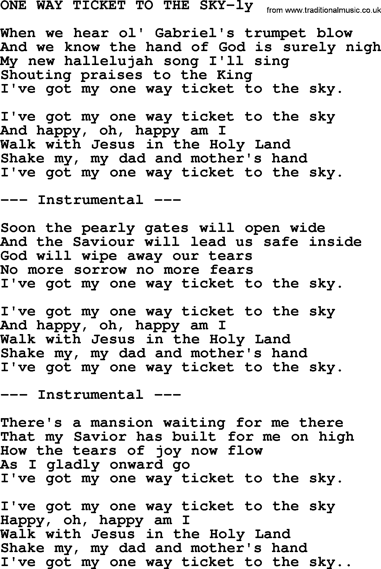 Hank Williams Song One Way Ticket To The Sky Lyrics