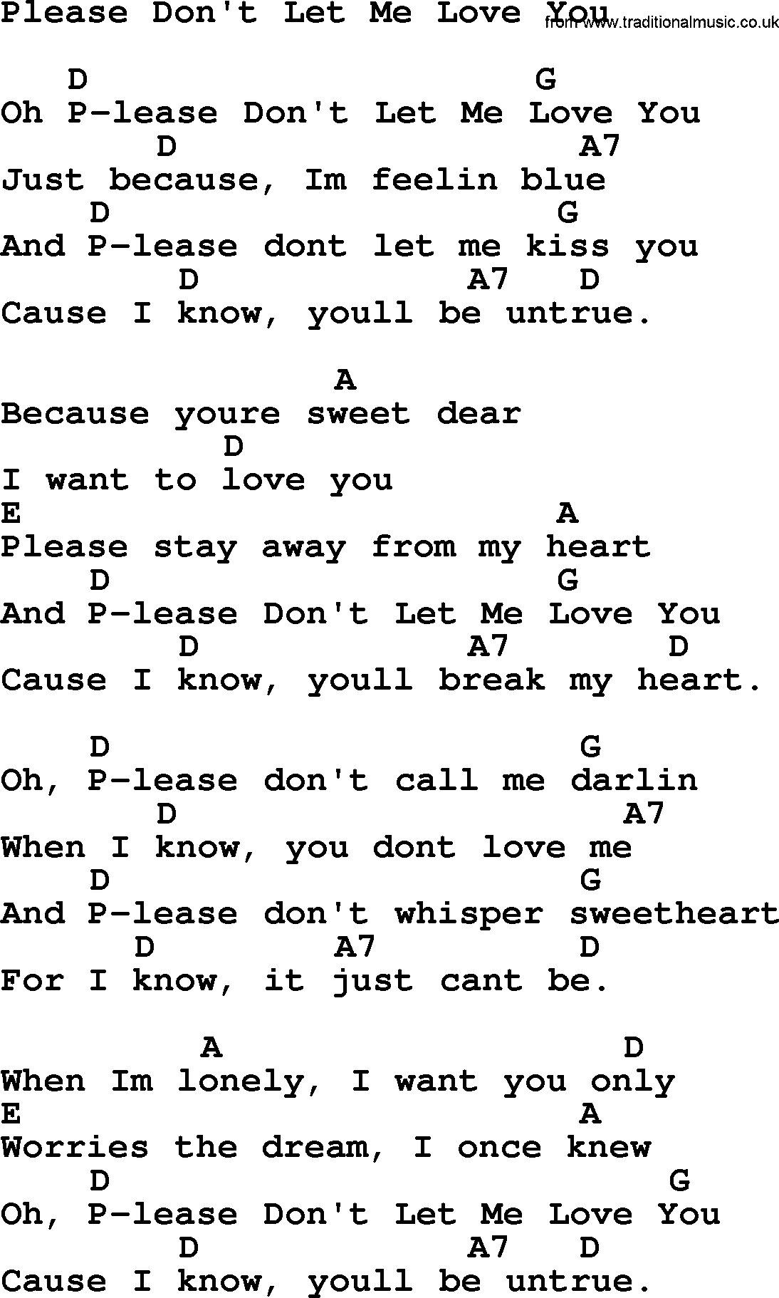 Hank williams song please dont let me love you lyrics and chords hank williams song please dont let me love you lyrics and chords hexwebz Images