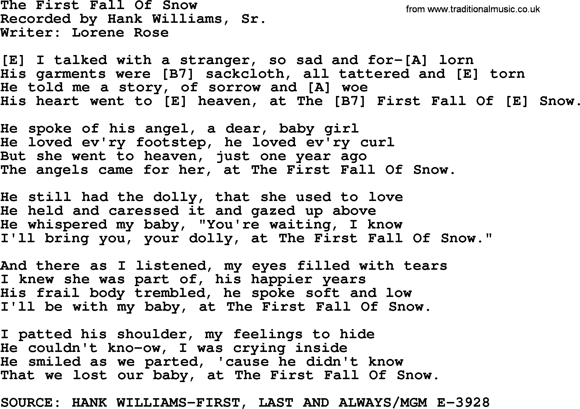 Hank Williams Song The First Fall Of Snow Lyrics And Chords