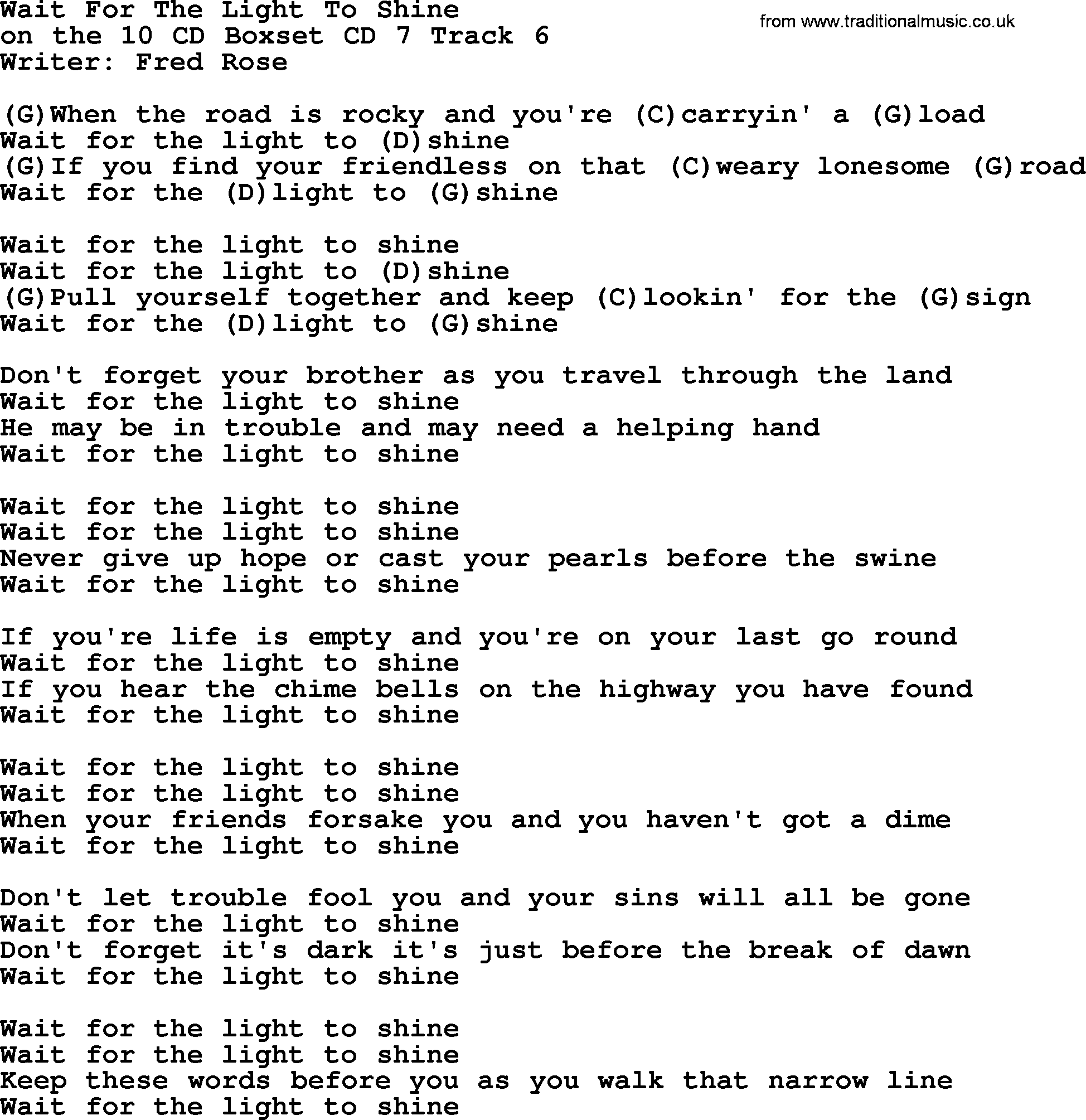 Hank williams song wait for the light to shine lyrics and chords hank williams song wait for the light to shine lyrics and chords hexwebz Gallery