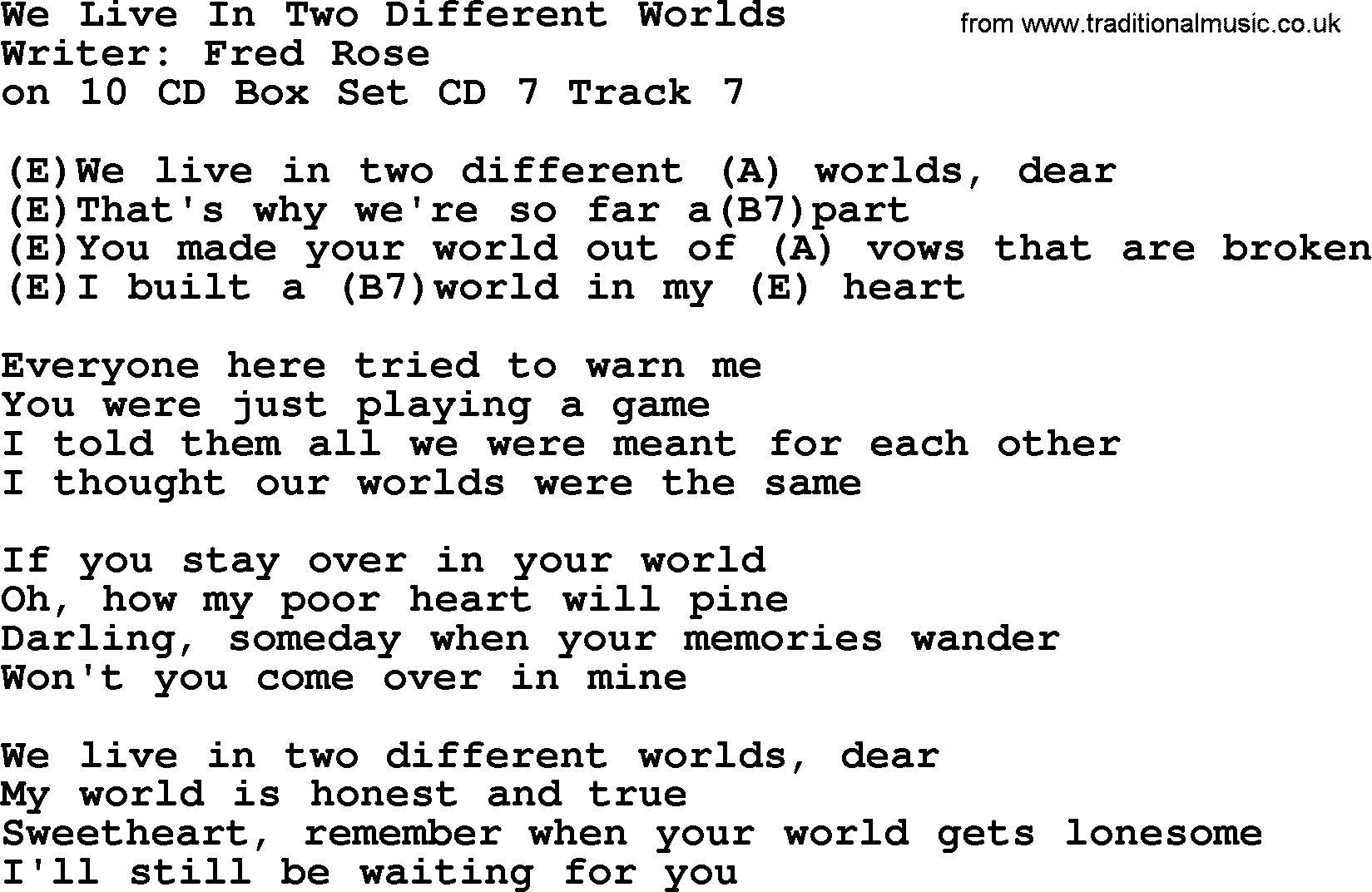 Hank Williams Song We Live In Two Different Worlds Lyrics And Chords