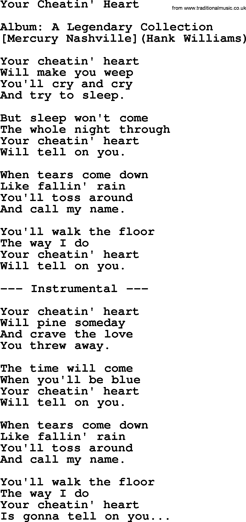 Hank William Sr - Your Cheatin Heart lyrics - YouTube