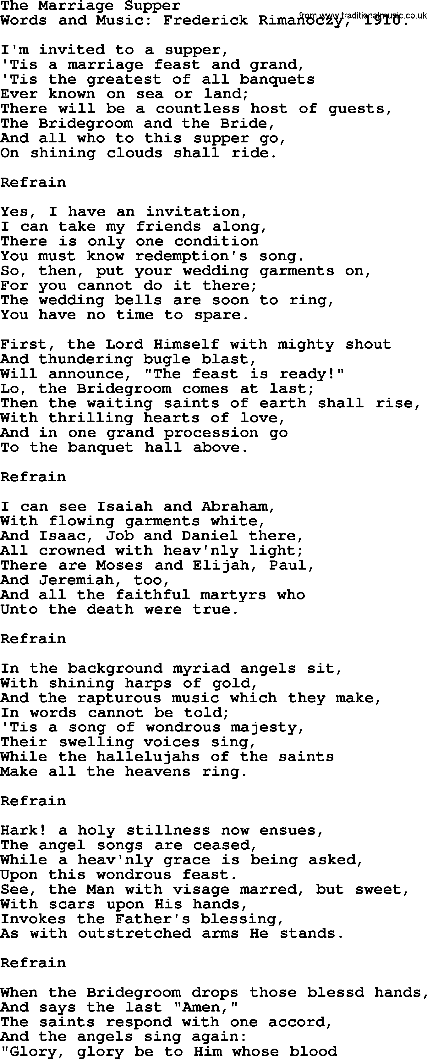 Hymns and songs about heaven the marriage supper lyrics and pdf songs and hymns about heaven the marriage supper lyrics with pdf stopboris Images