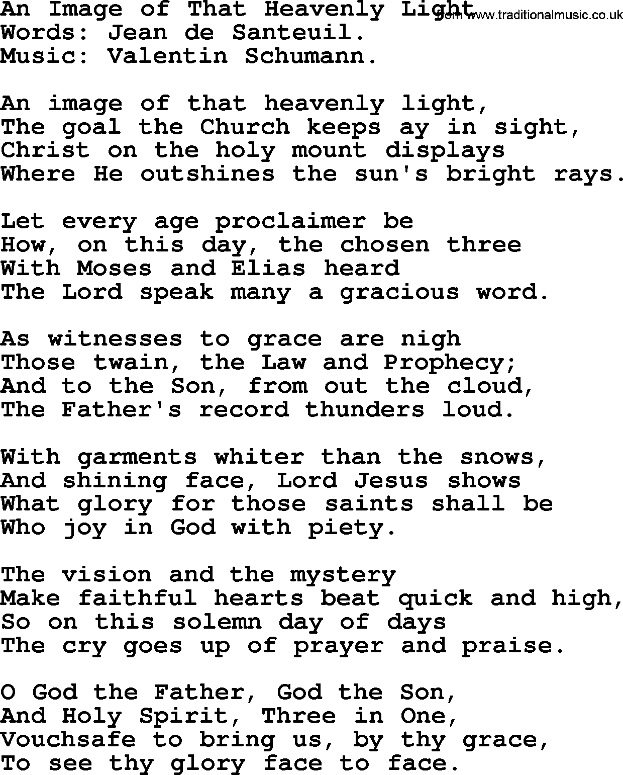 Hymns about The Trinity, title: An Image Of That Heavenly