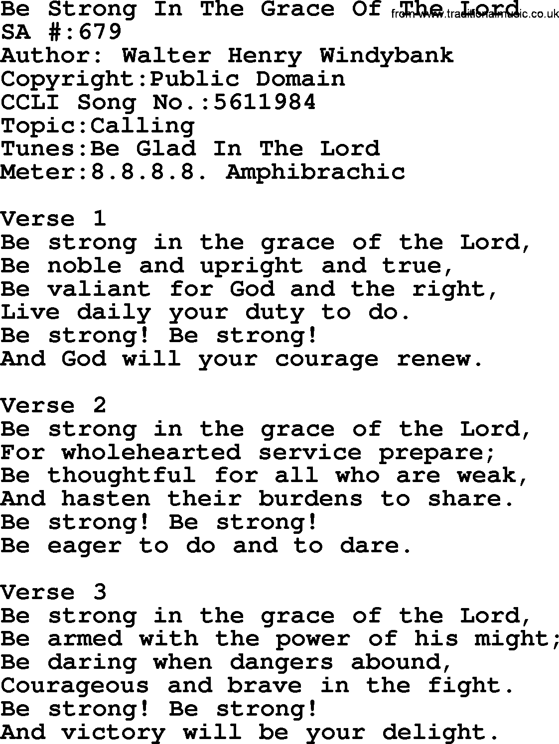 Salvation army hymnal song be strong in the grace of the lord salvation army hymnal title be strong in the grace of the lord with hexwebz Choice Image
