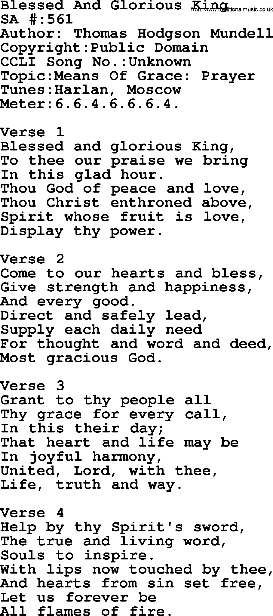 Salvation Army Hymnal Song: Blessed And Glorious King, with