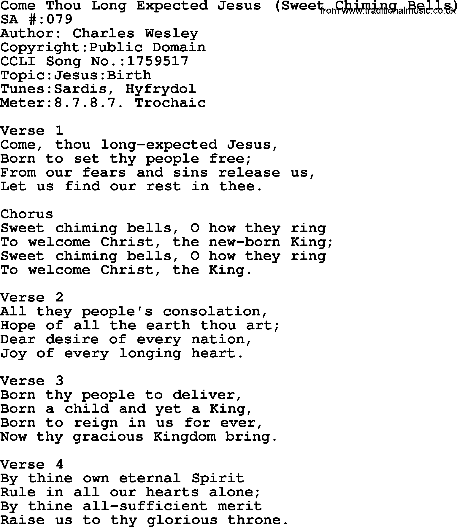 Exelent Come Thou Long Expected Jesus Chords Ensign Beginner